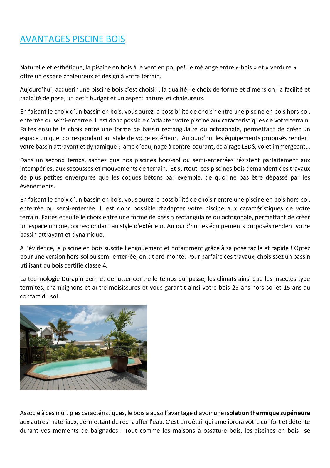 Piscine Hors Sol Bois Petite Dimension calaméo - avantages piscine bois