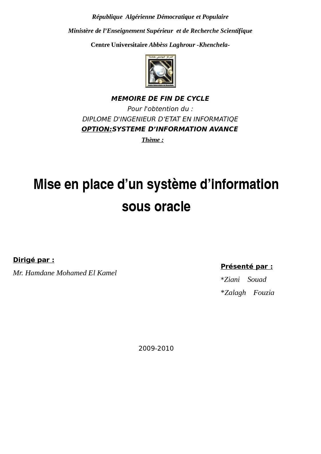 e5af26215b73 Calaméo - 2010 ING Mise En Place SI Sous  Oracle