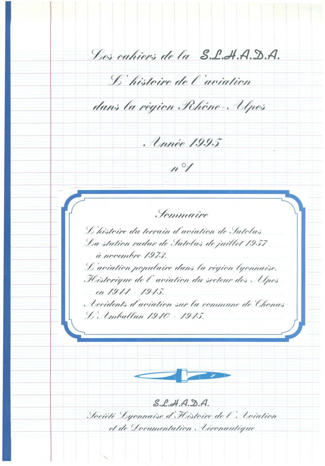 1995 Histoire De L'aviation En Rhône Alpes, Cahiers De La SLHADA
