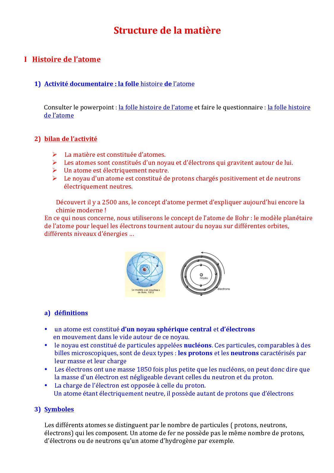 Calameo Bts1 Cours Structure De La Matiere