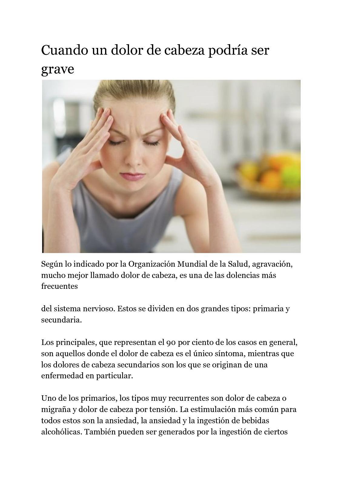 sintomas de dolor de cabeza por tension