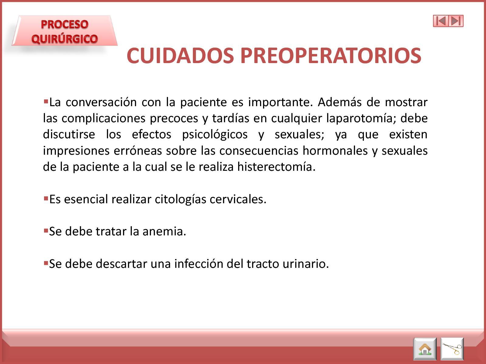 Histerectomia cuidados pre operatorios