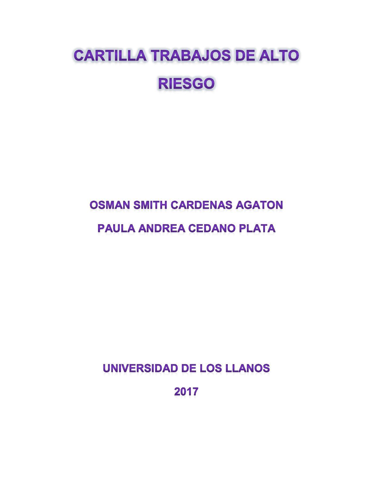 Cartilla Trabajos De Alto Riesgo 2017