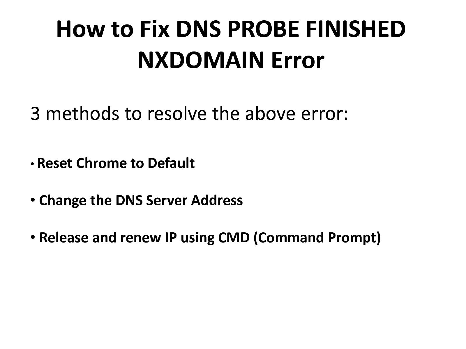 Calaméo - Fix Dns Probe Finished Nxdomain Error