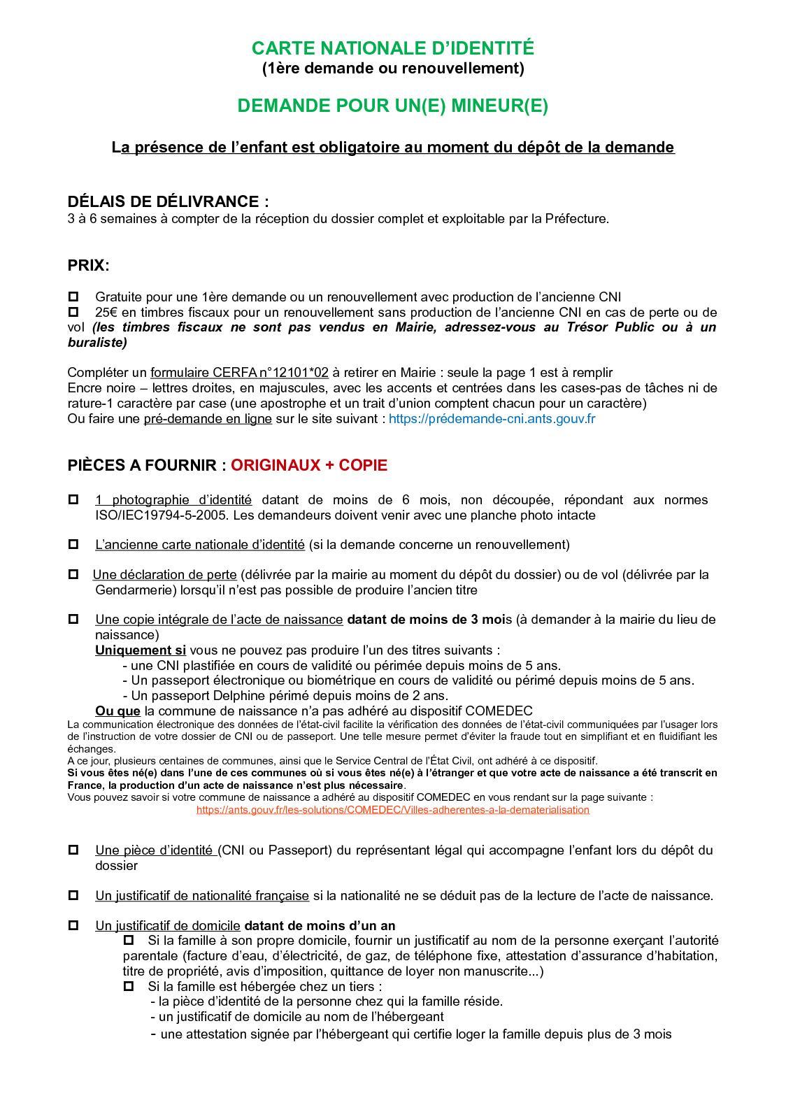 pré demande carte d identité mineur Calaméo   CNI MINEURS