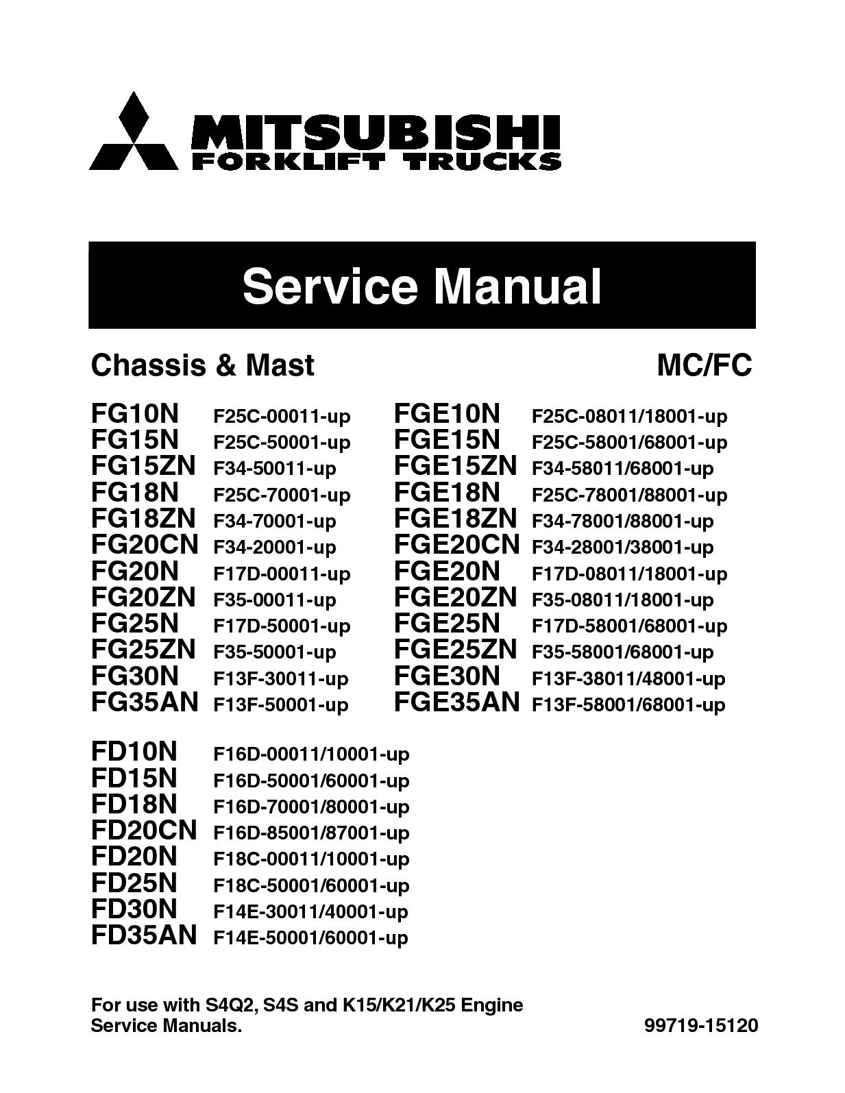 Calaméo - MITSUBISHI FD10N FORKLIFT TRUCKS Service Repair Manual SN:F16D  04001 UP