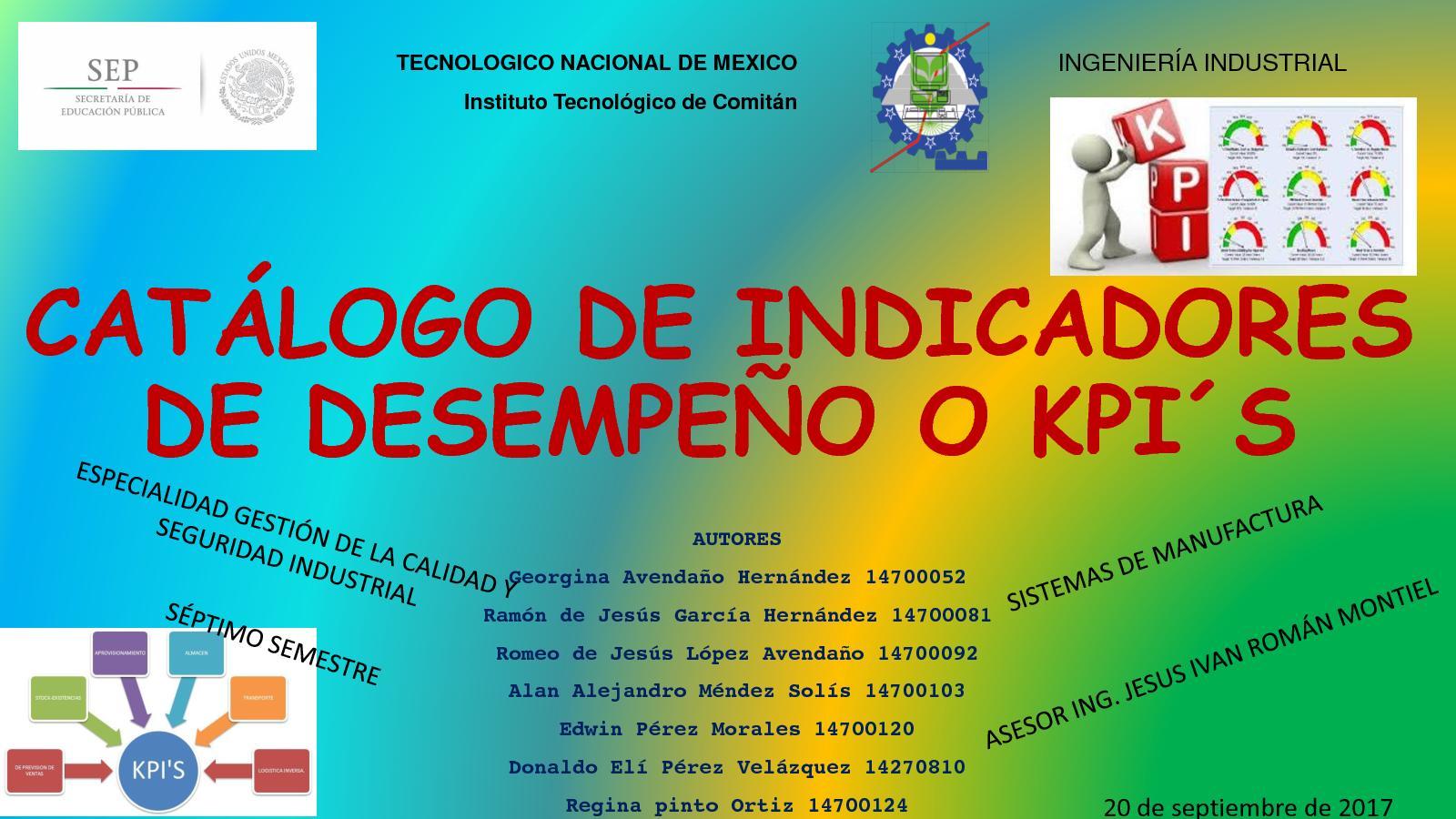 CATÁLOGO DE INDICADORES O KPI´S