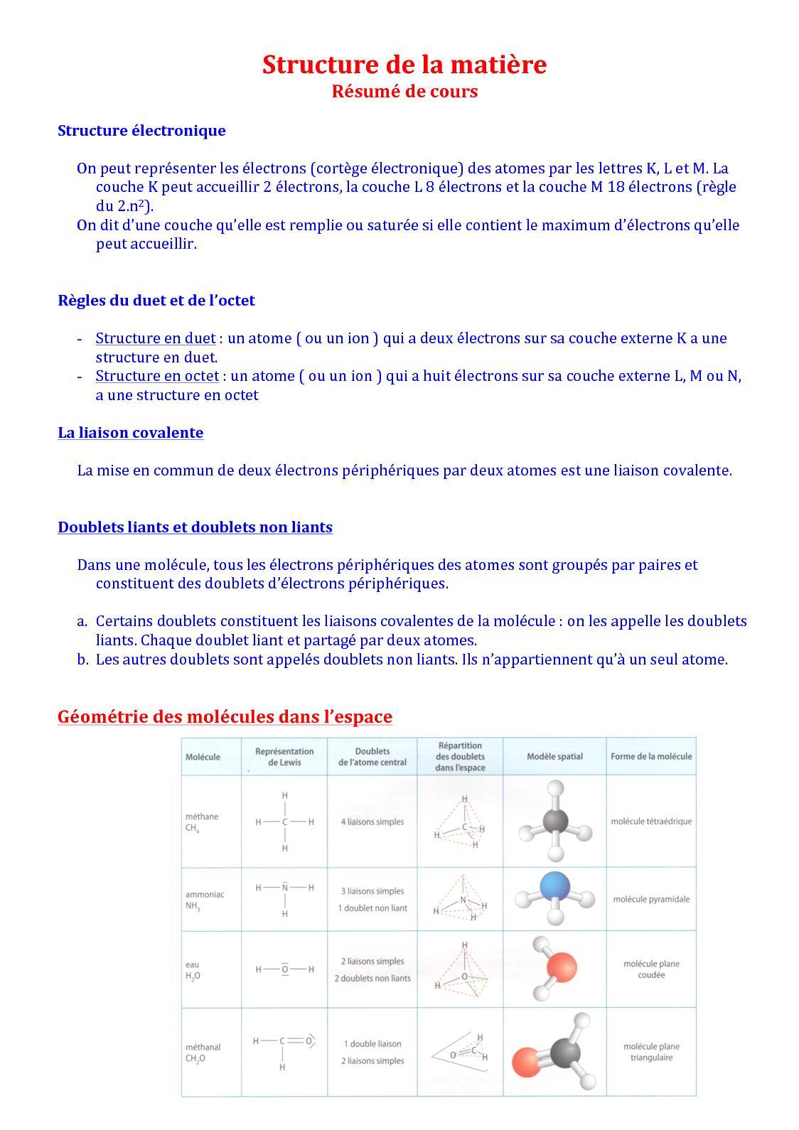 Calameo Structure De La Matiere Resume De Cours