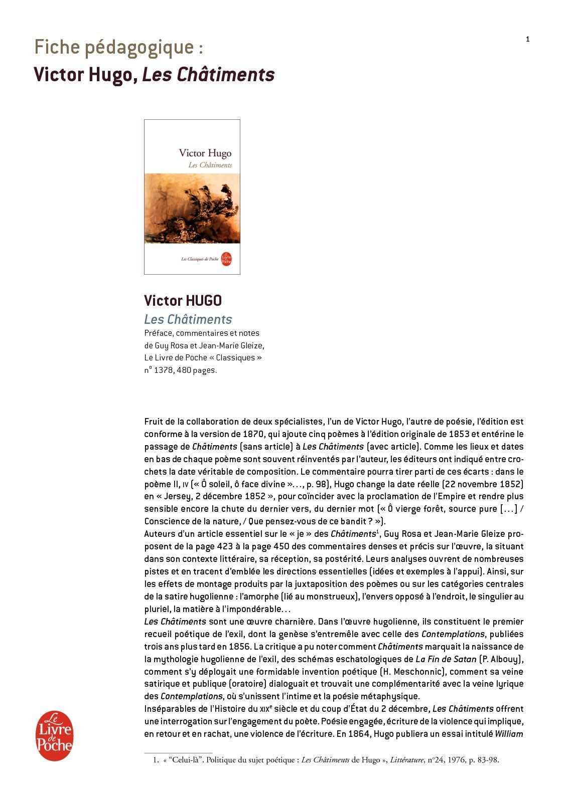 Calaméo Fiche Pédagogique Châtiments Les Victor Hugo