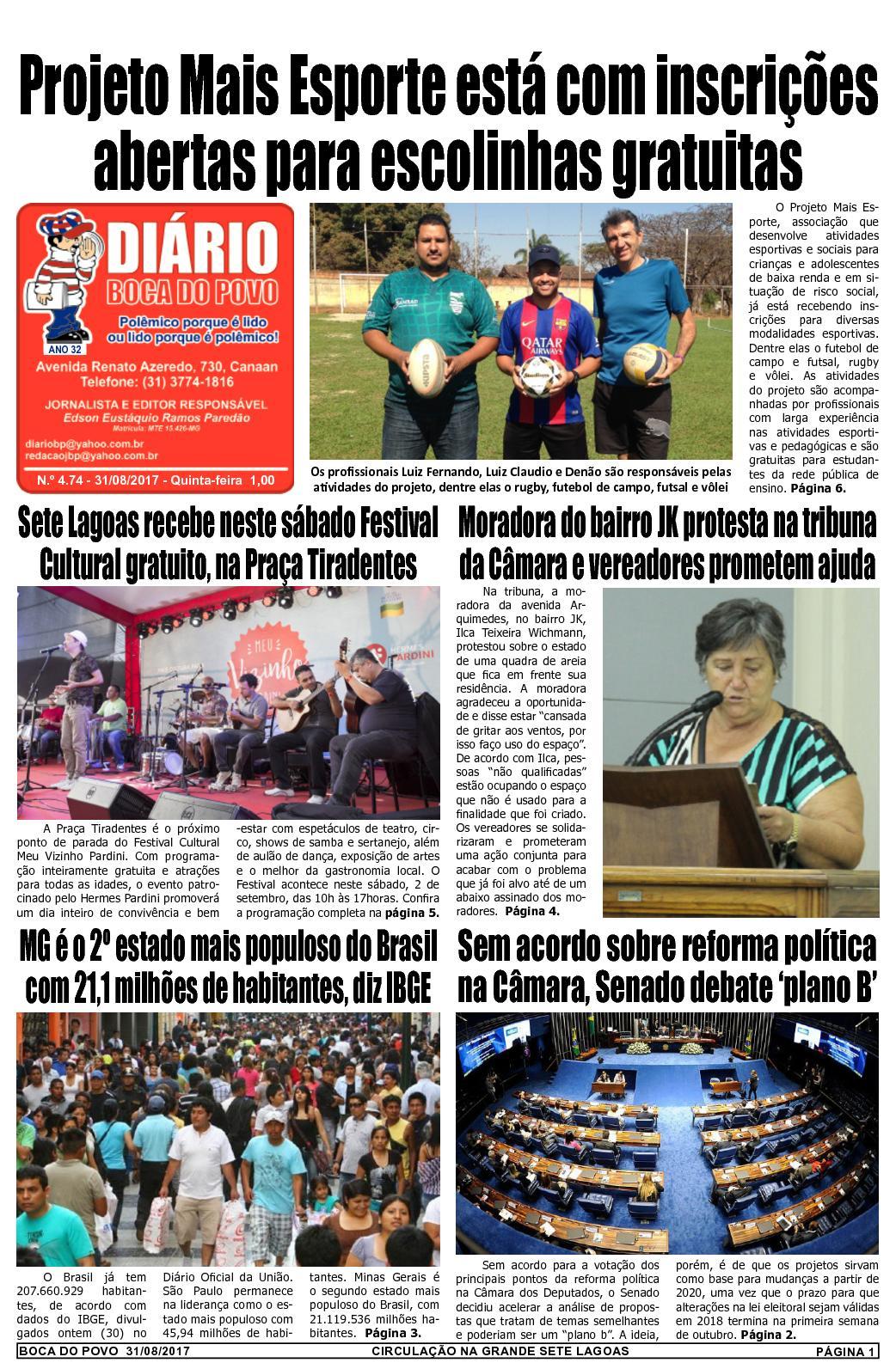 Calaméo - Jornal Diário Boca do Povo de quinta-feira dia 31 de agosto de  2017 746247404737c