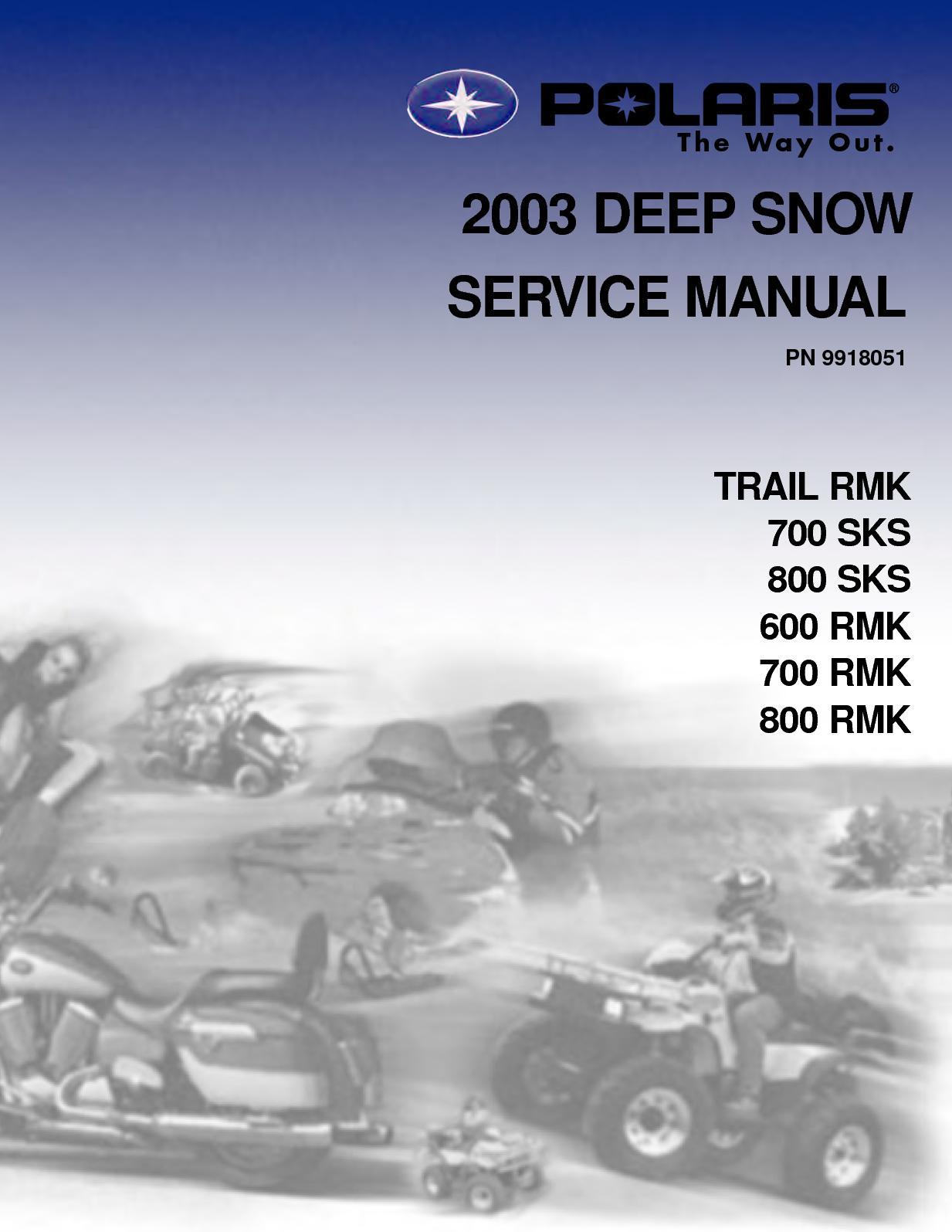2003 polaris 800 rmk 151 snowmobile service repair manual