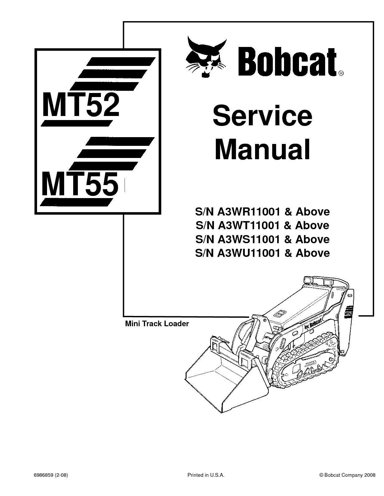 bobcat mt55 compact track loader service repair manual sn a3wr11001 & above