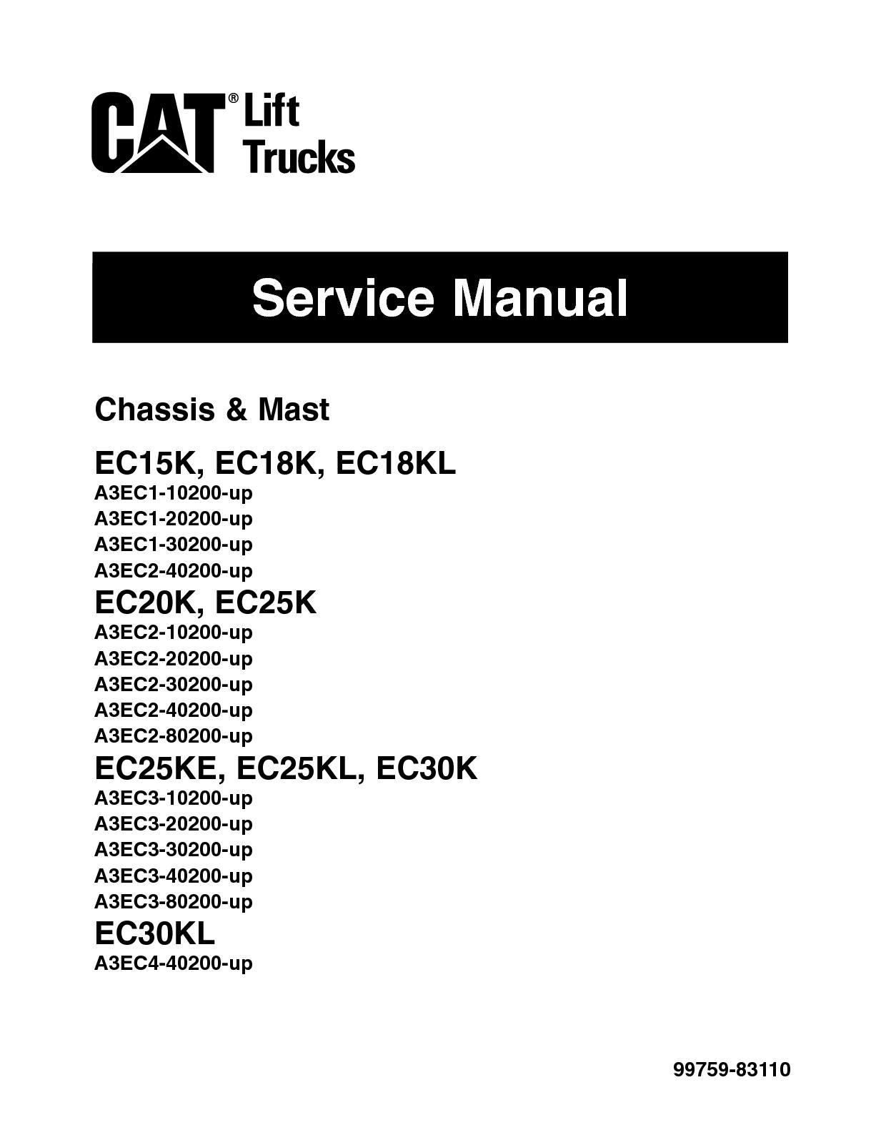 Calaméo - Caterpillar Cat EC20K EC25K Forklift Lift Trucks Service Repair  Manual SNA3EC2 10200 And Up