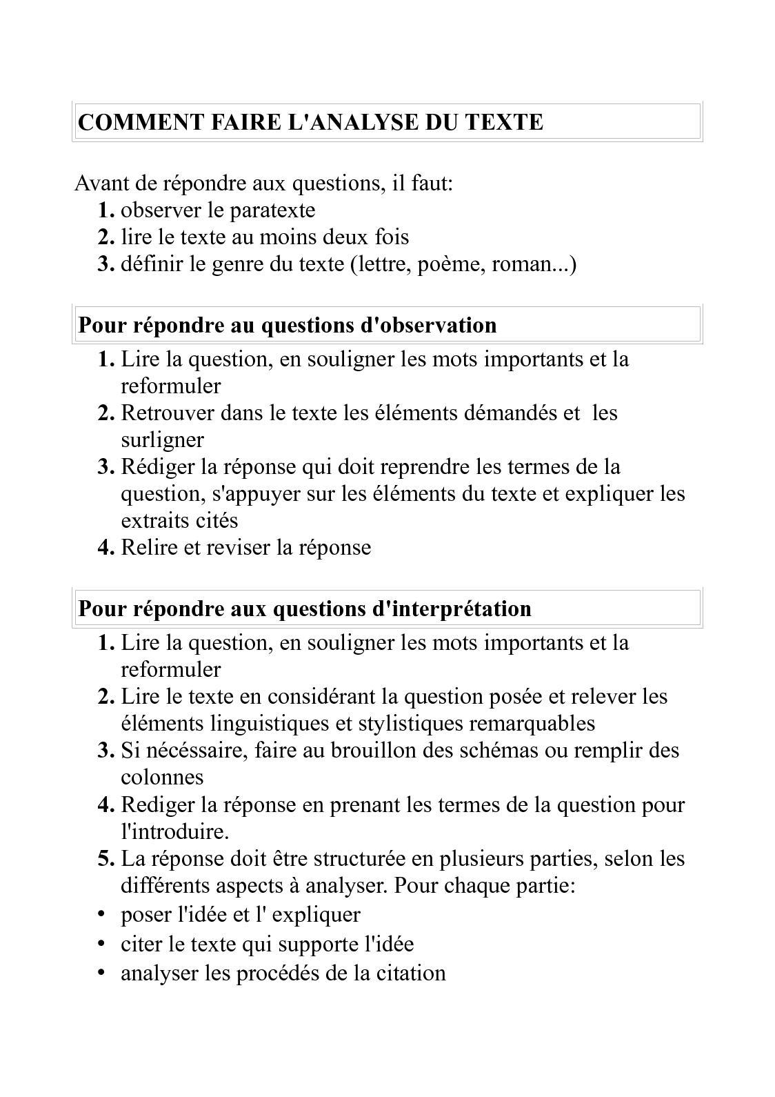 Comment Repondre A Des Questions Sur Un Texte - Texte Préféré