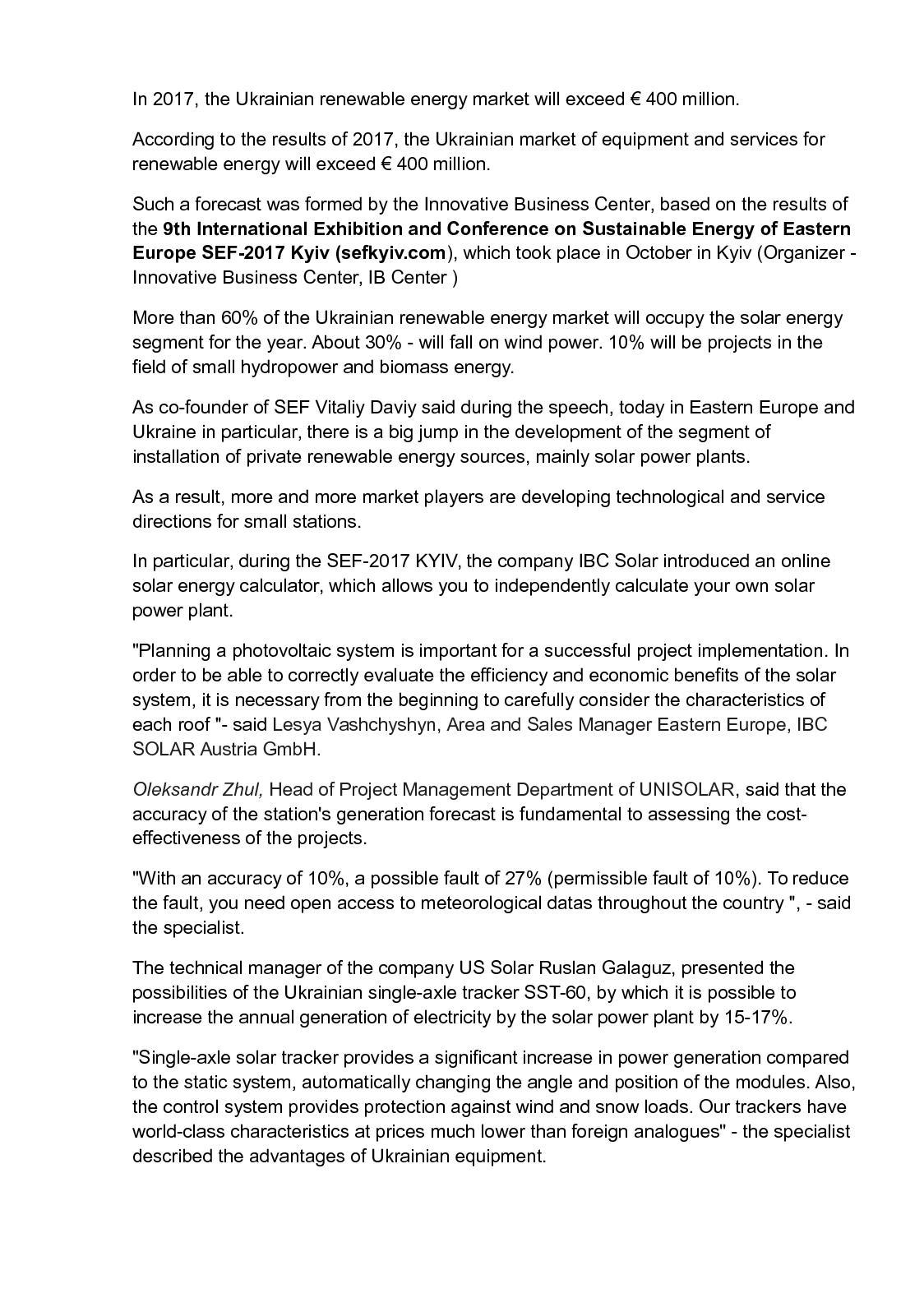 Calaméo - In 2017, the Ukrainian renewable energy market