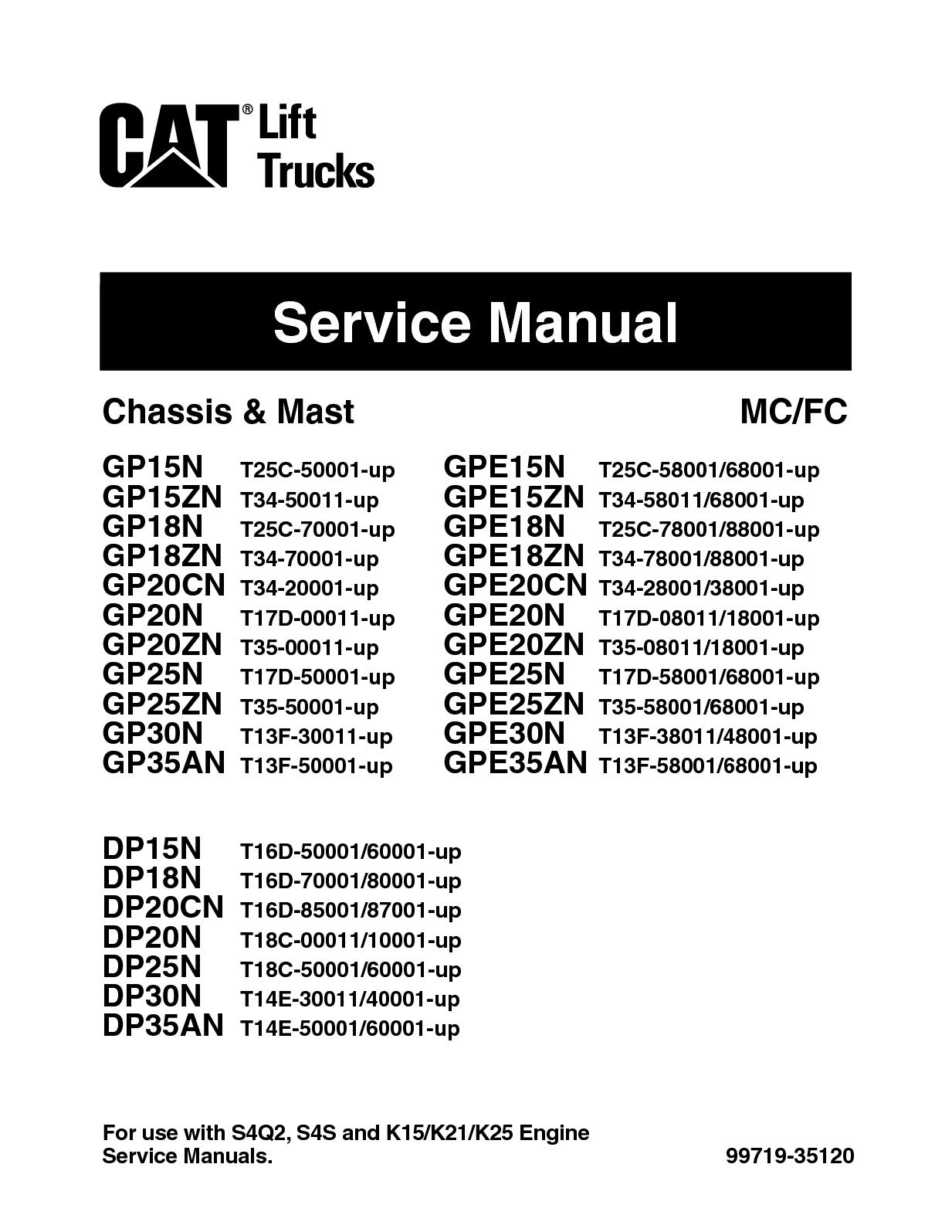 Calaméo - Caterpillar Cat GP35N Forklift Lift Trucks Service Repair Manual  SNT13F 50001 And Up