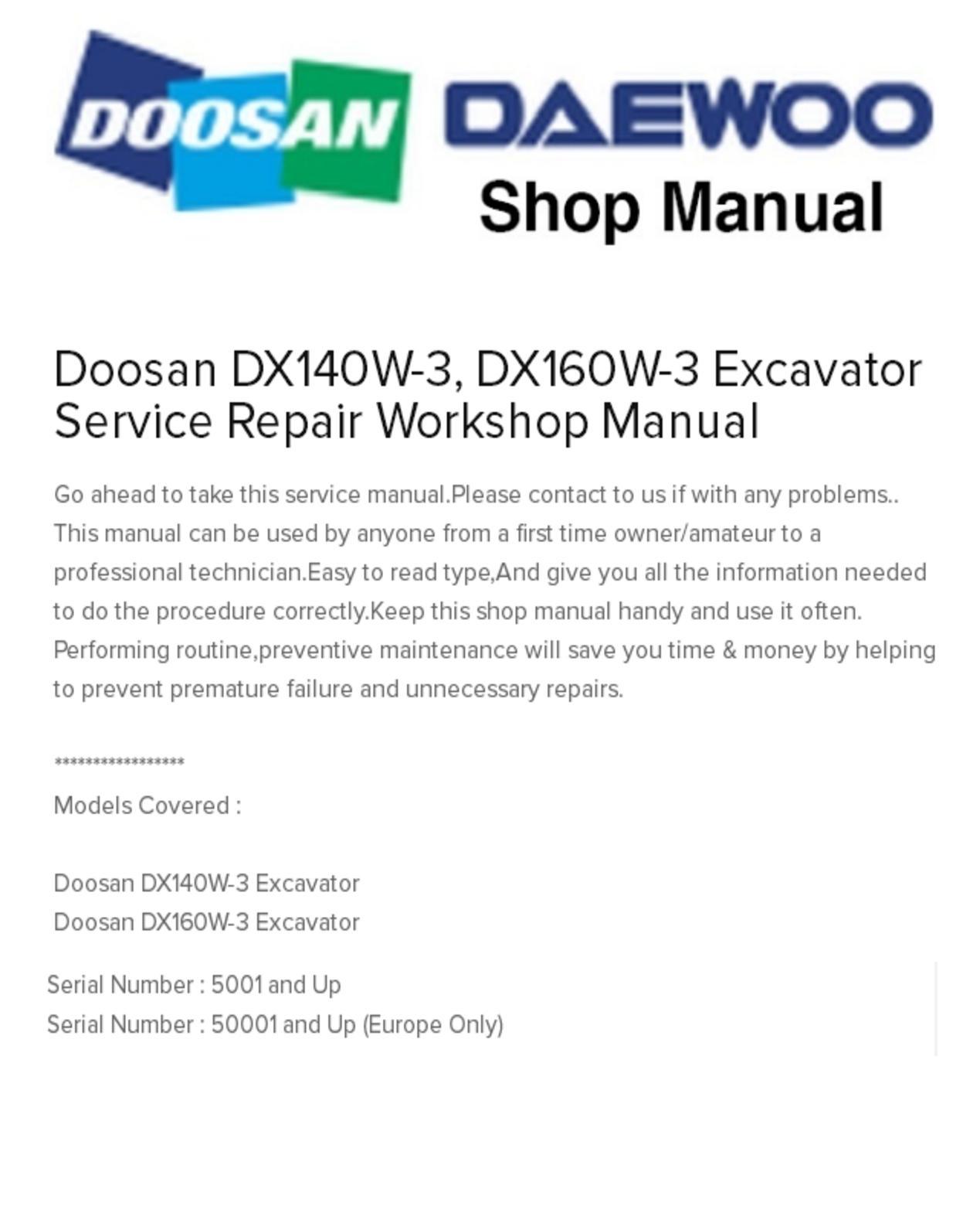 Calaméo - Doosan DX140W-3, DX160W-3 Excavator Service Repair Workshop Manual