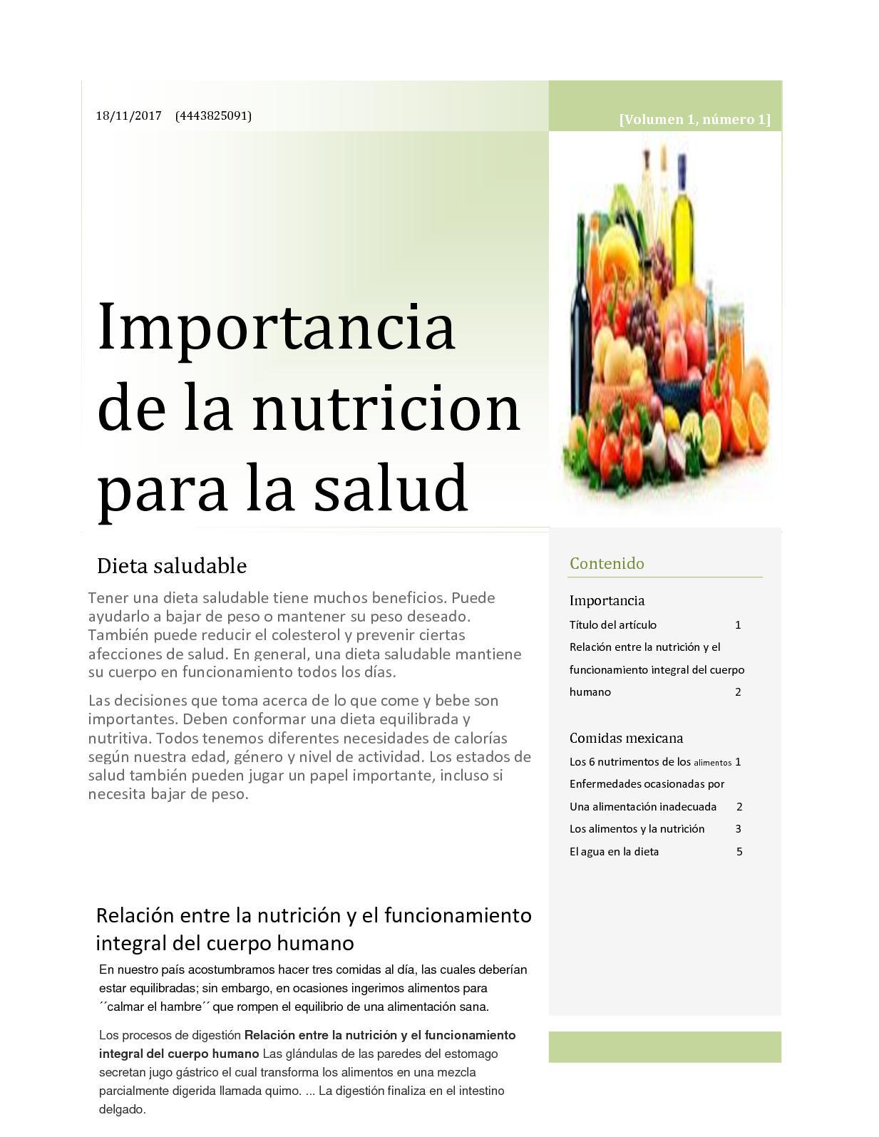 salud nutricion relacion