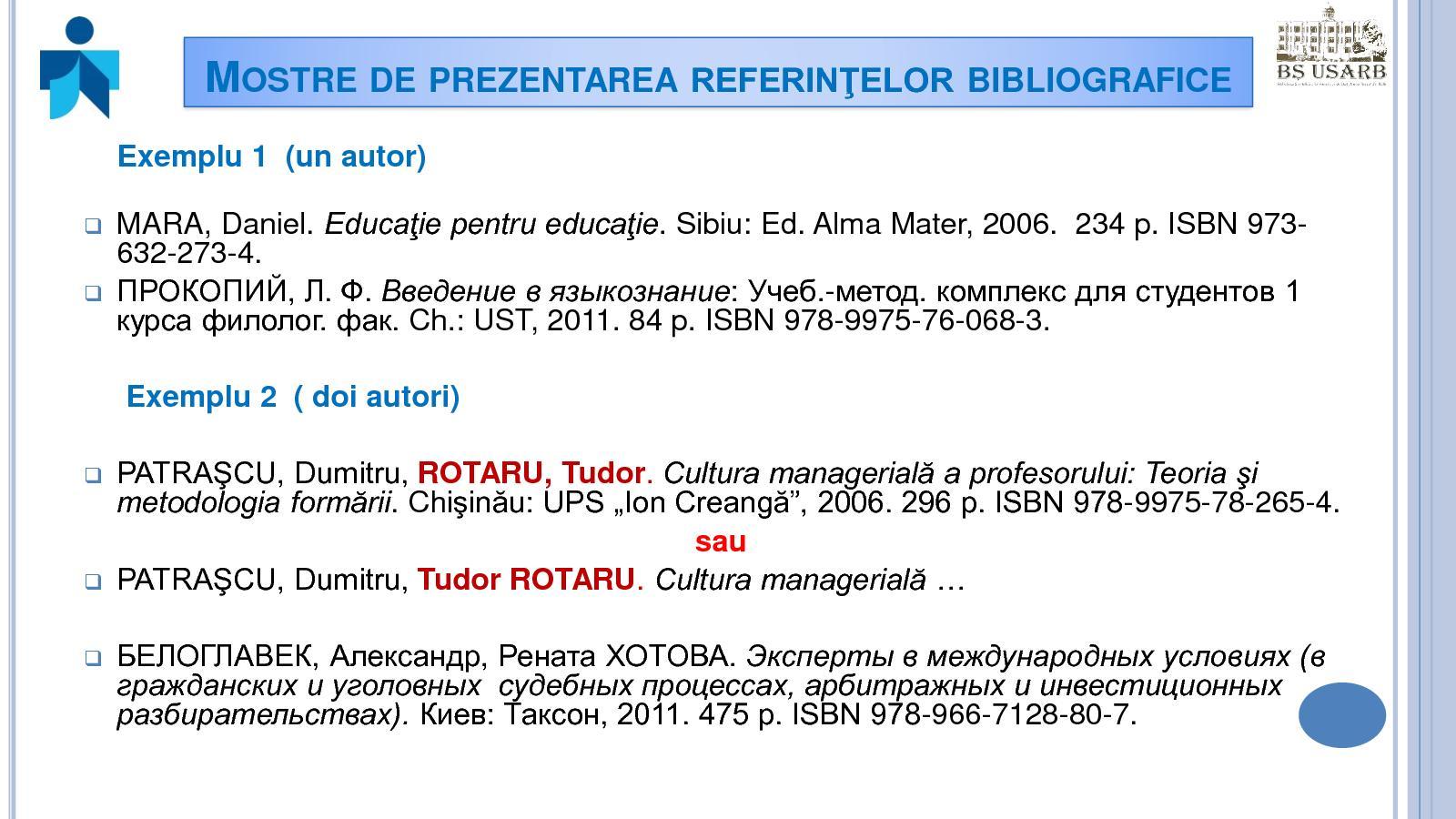 lista varicoasă a referințelor)