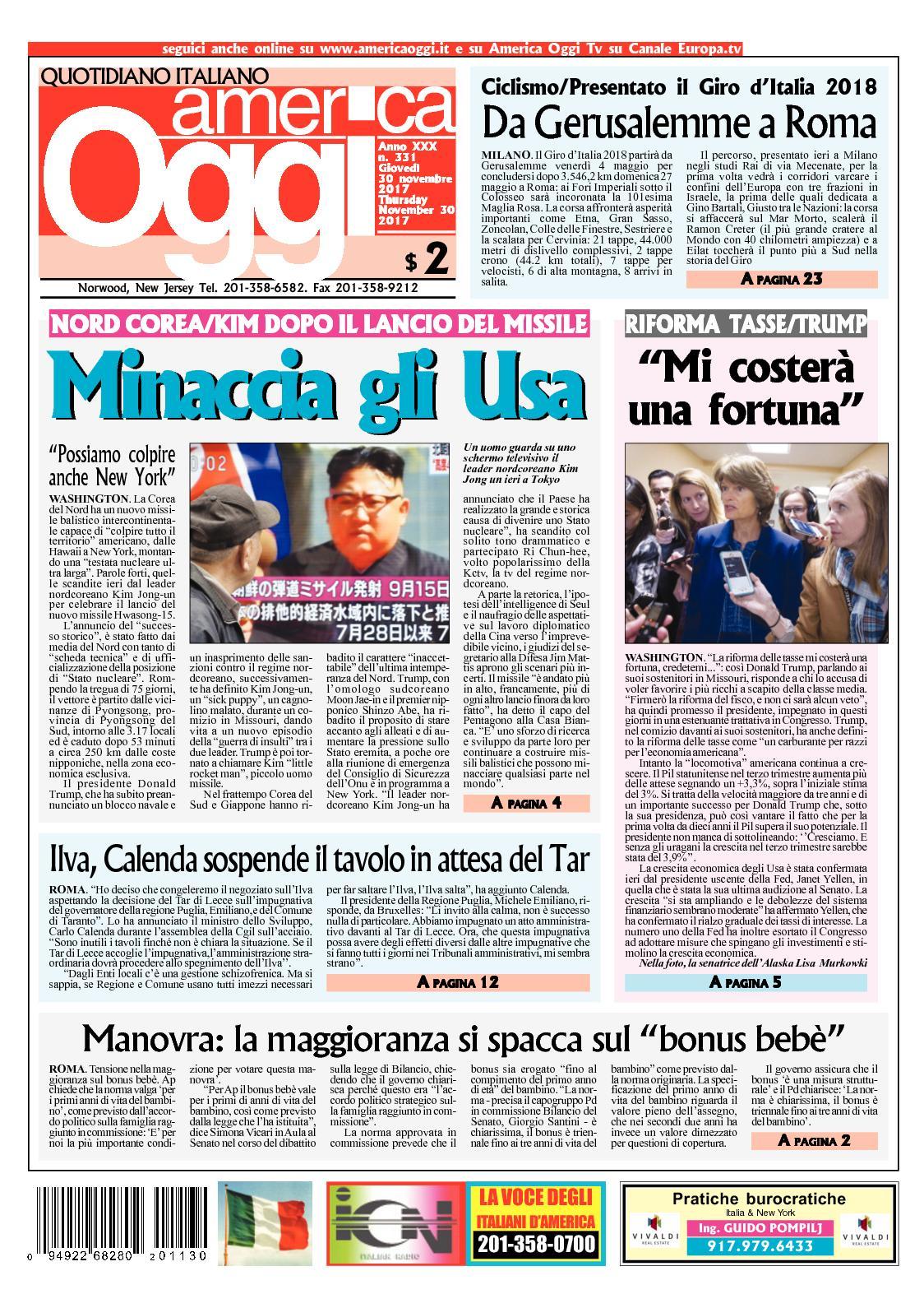 the latest 68d08 f8125 Calaméo - America Oggi 30 Novembre 2017