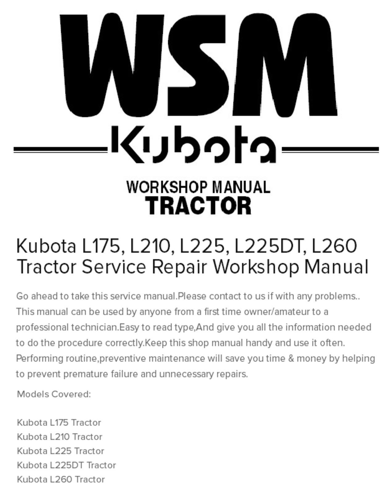 Calaméo - Kubota L175, L210, L225, L225dt, L260 Tractor Service Repair  Workshop Manual