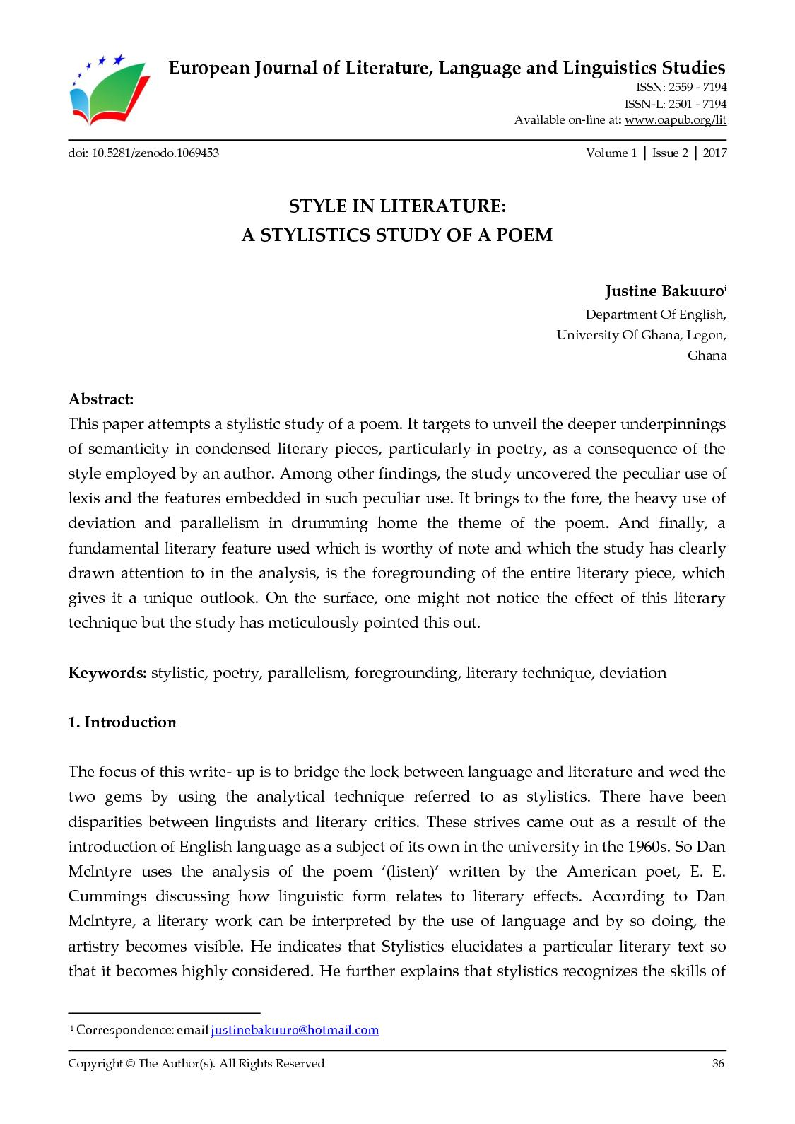 Calaméo - STYLE IN LITERATURE: A STYLISTICS STUDY OF A POEM