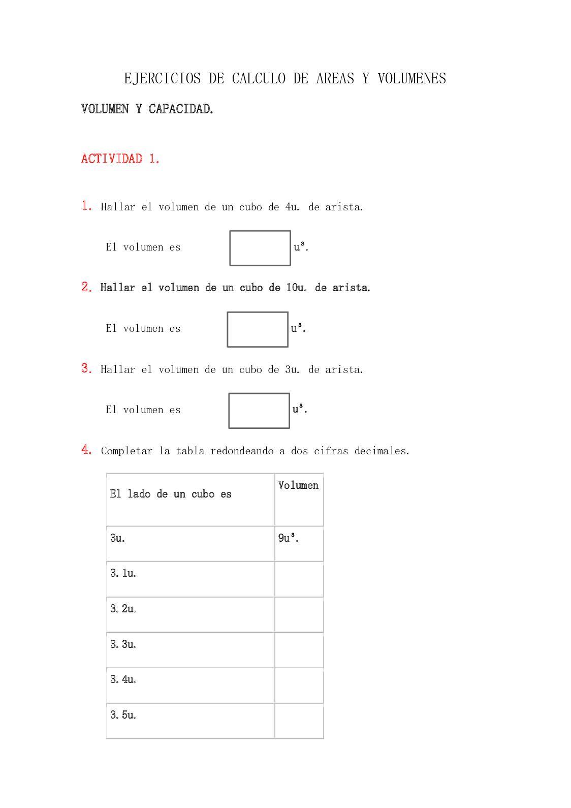 tabla de volumenes y areas