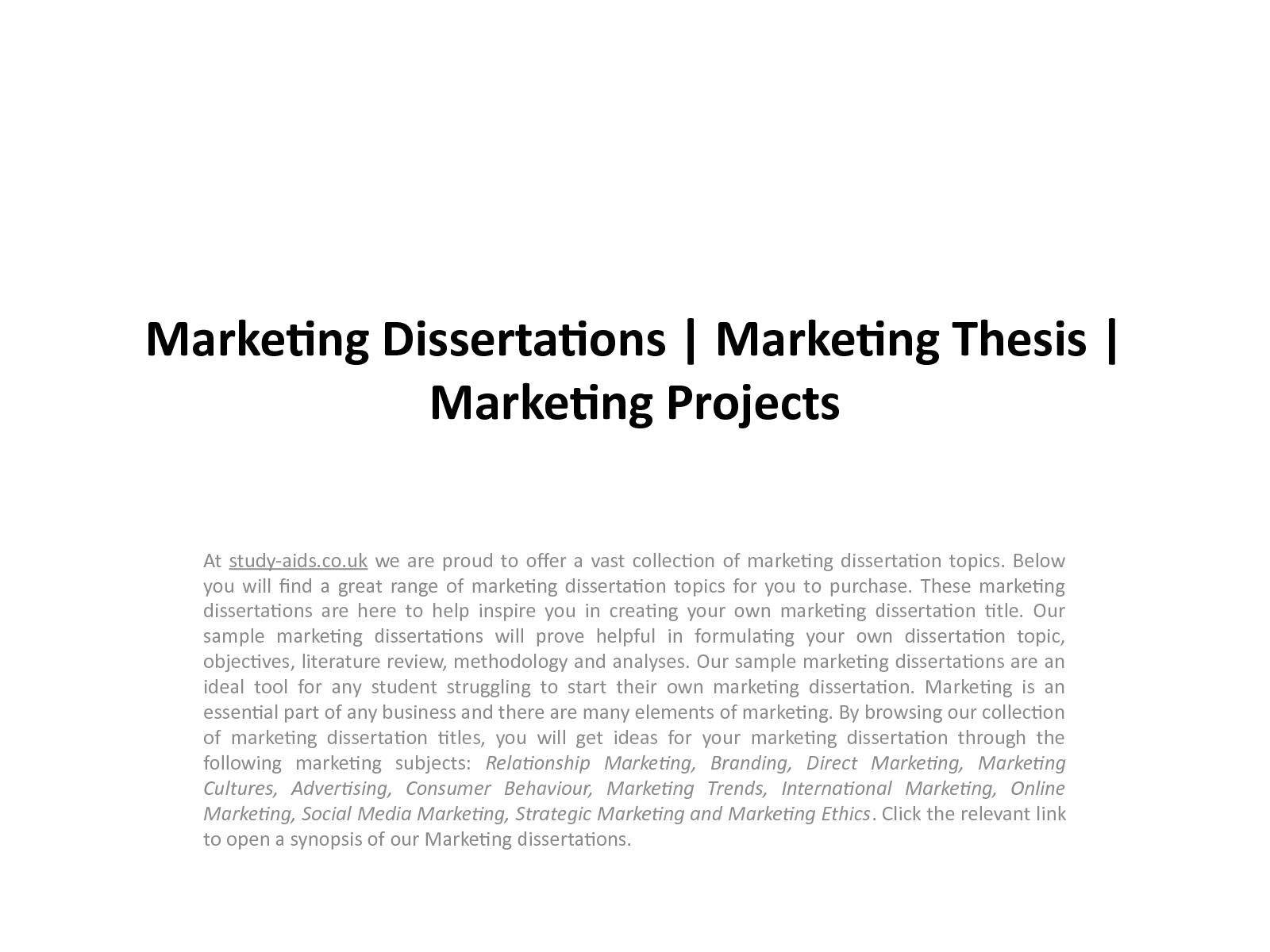 Marketing dissertations argumentative sample essay