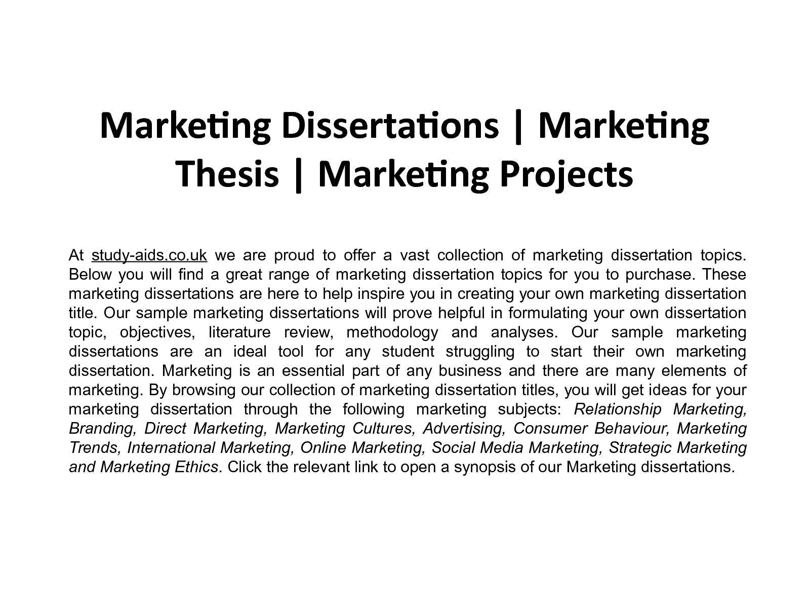 marketing dissertations
