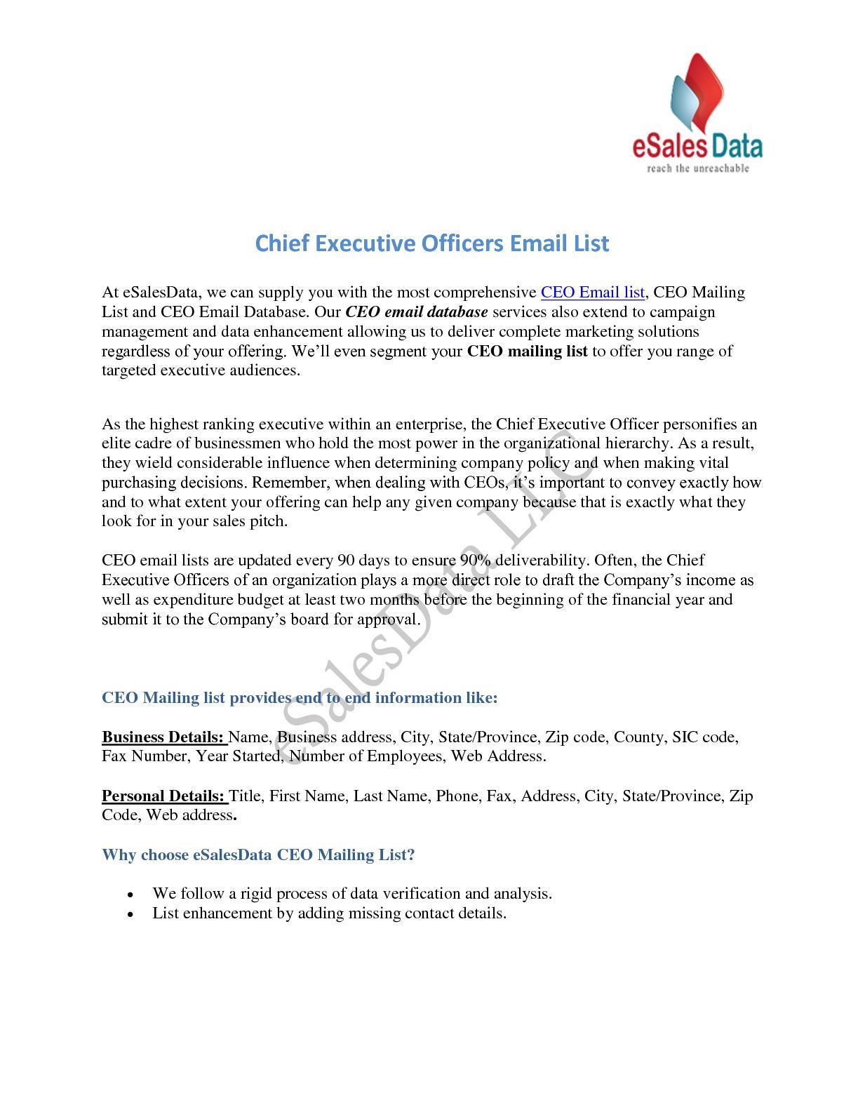 Calaméo - Ceo Email List