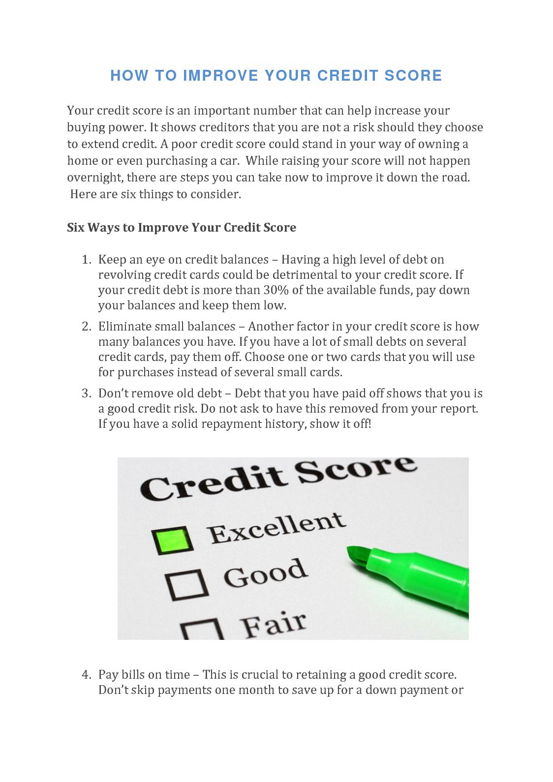 How to pick up your credit score fast