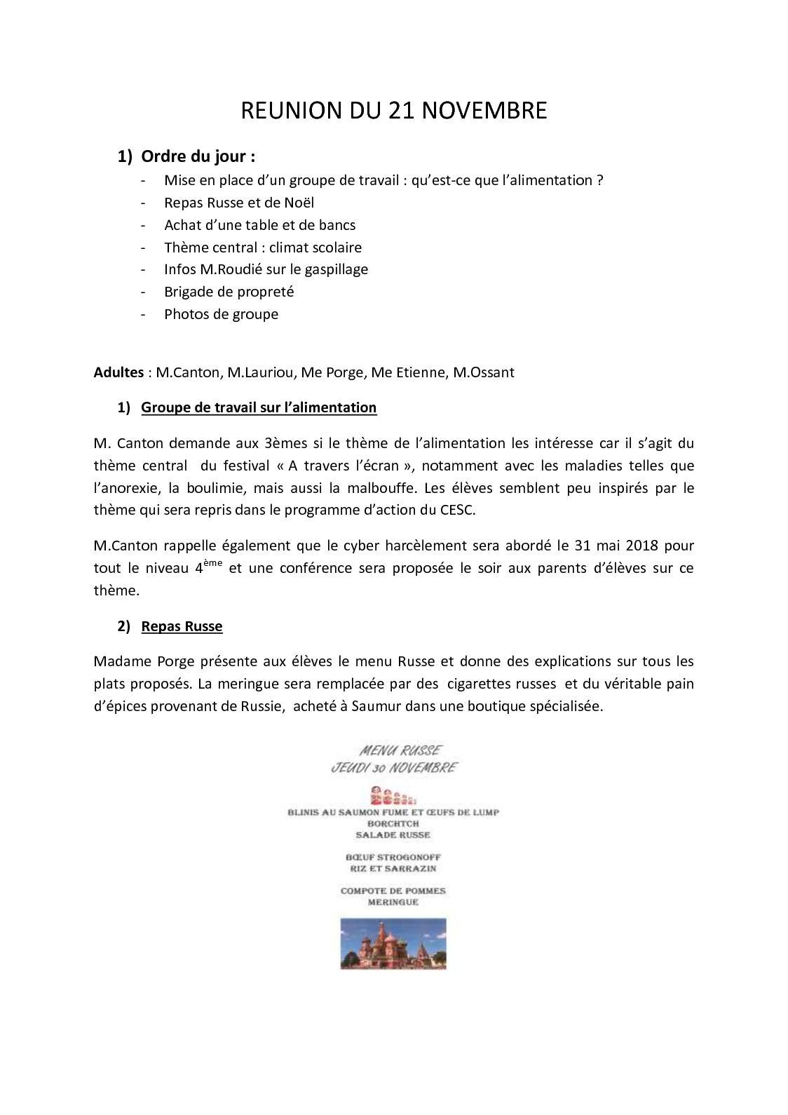 Ordre Des Plats Dans Un Menu De Noel.Calameo Cvc Compte Rendu Du 21 11 2017