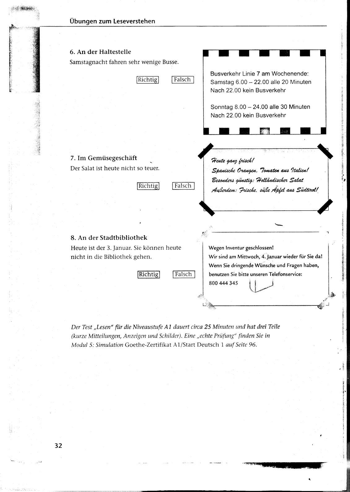 Deutsch 1 beispiel start test German Exercises