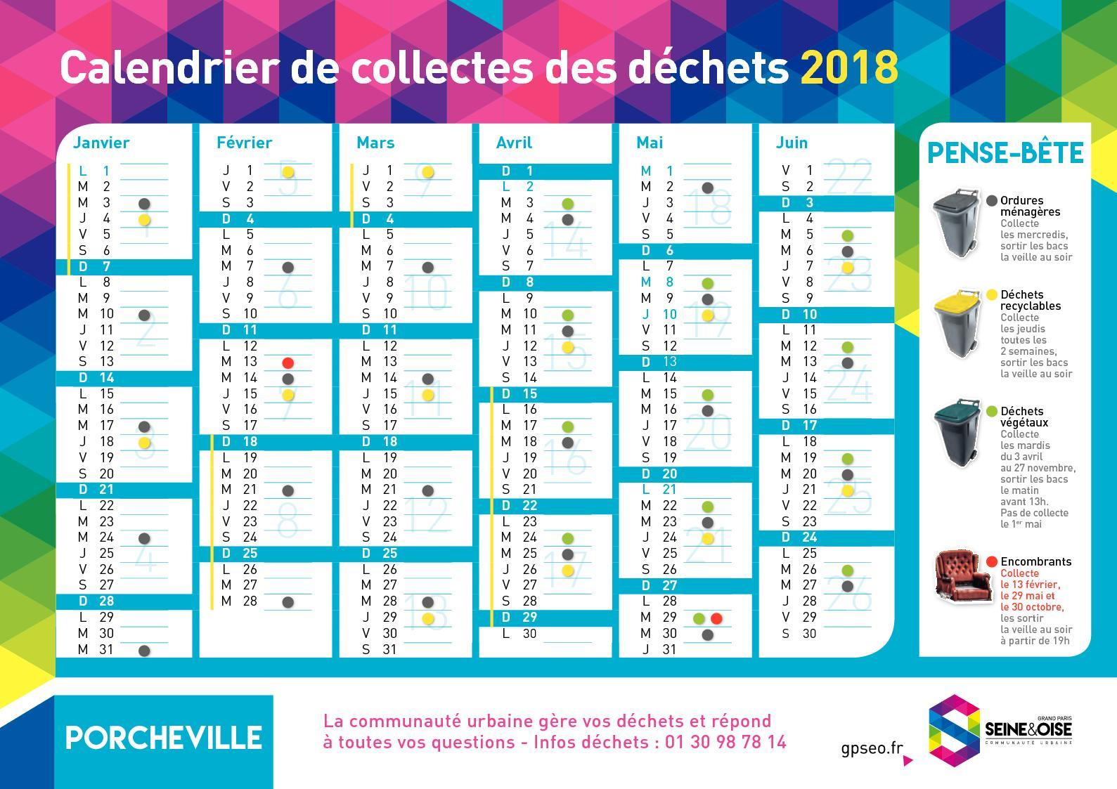 Calendrier Encombrants 77.Calameo Porcheville Calendrier De Collectes Des Dechets 2018
