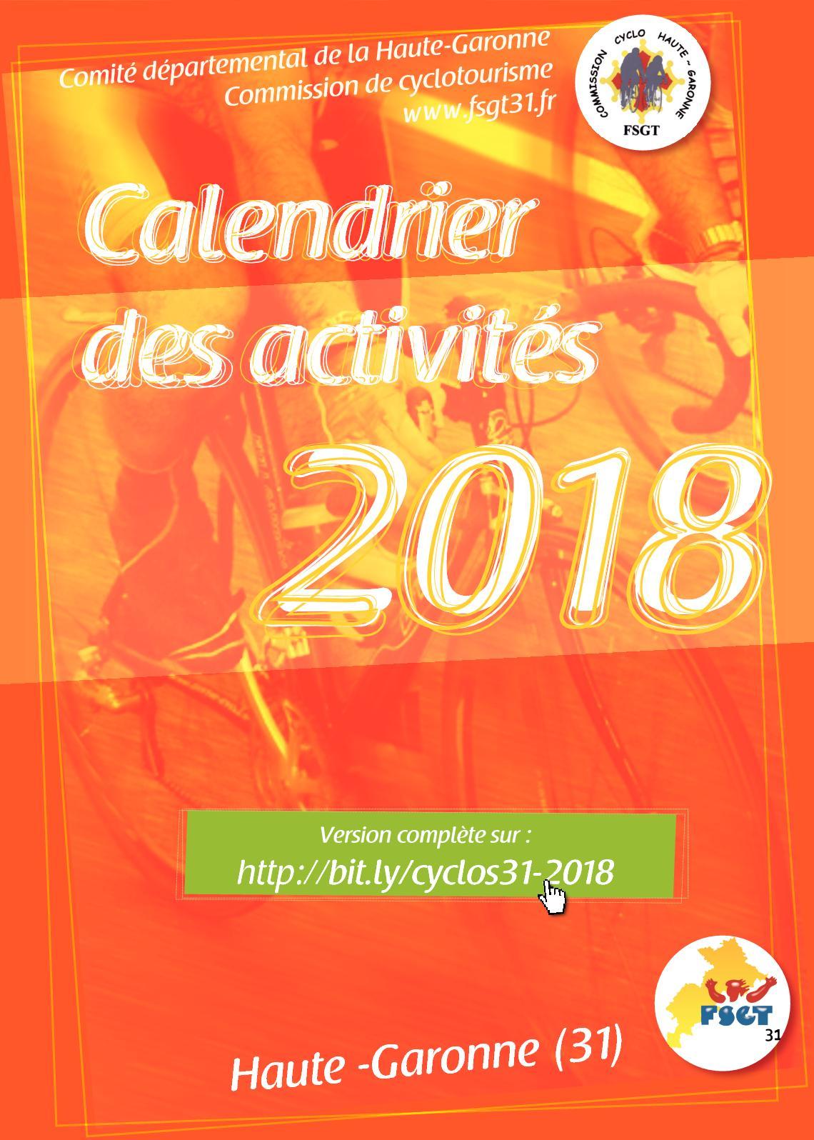 Calendrier Randonnee Pedestre Lot Et Garonne.Calameo Calendrier Des Activites Cyclo Fsgt31 2018