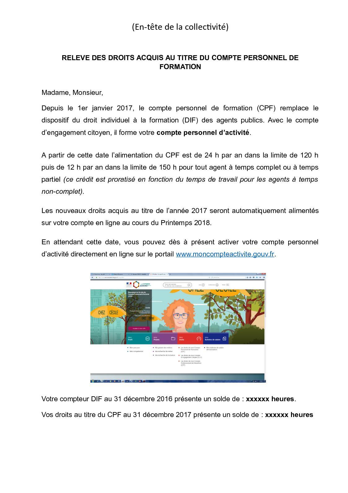 Calameo Attestation Releve Des Droits Acquis Au Titre Du Compte