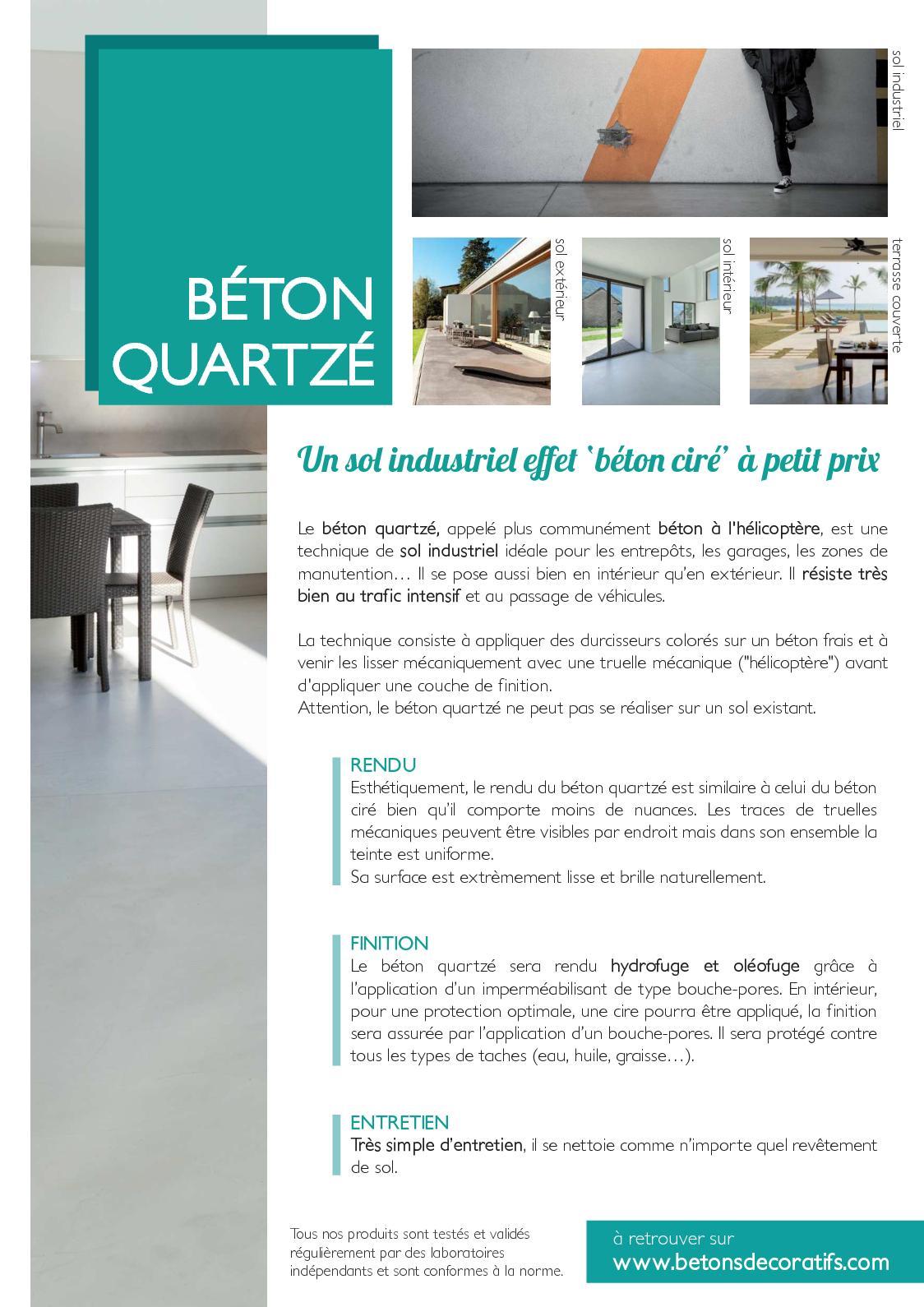 Pose Beton Ciré Exterieur calaméo - fiche produit béton quartzé