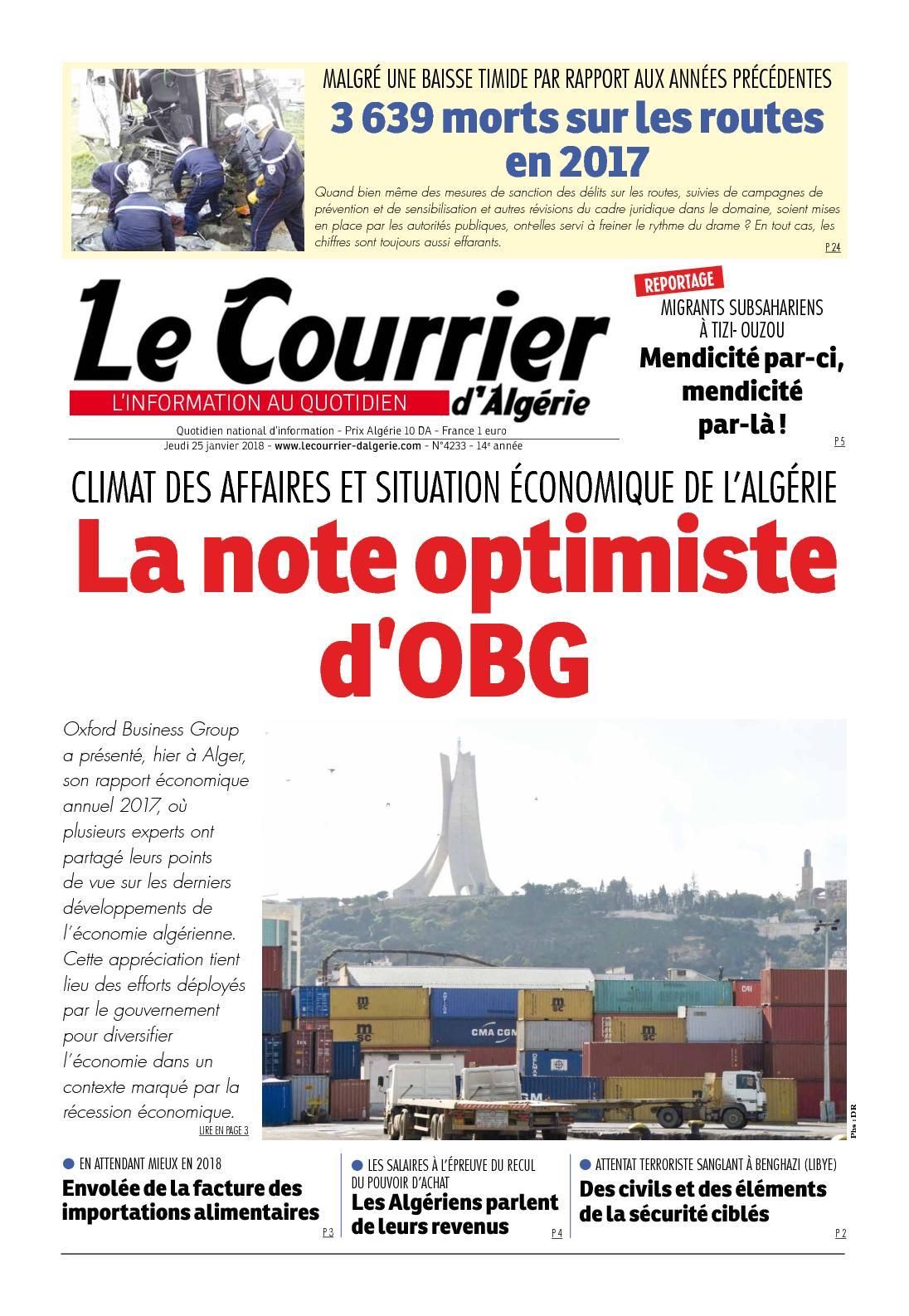 cb8f295642965 Calaméo - Le Courrier D Algérie Du Jeudi 25 Janvier 2018