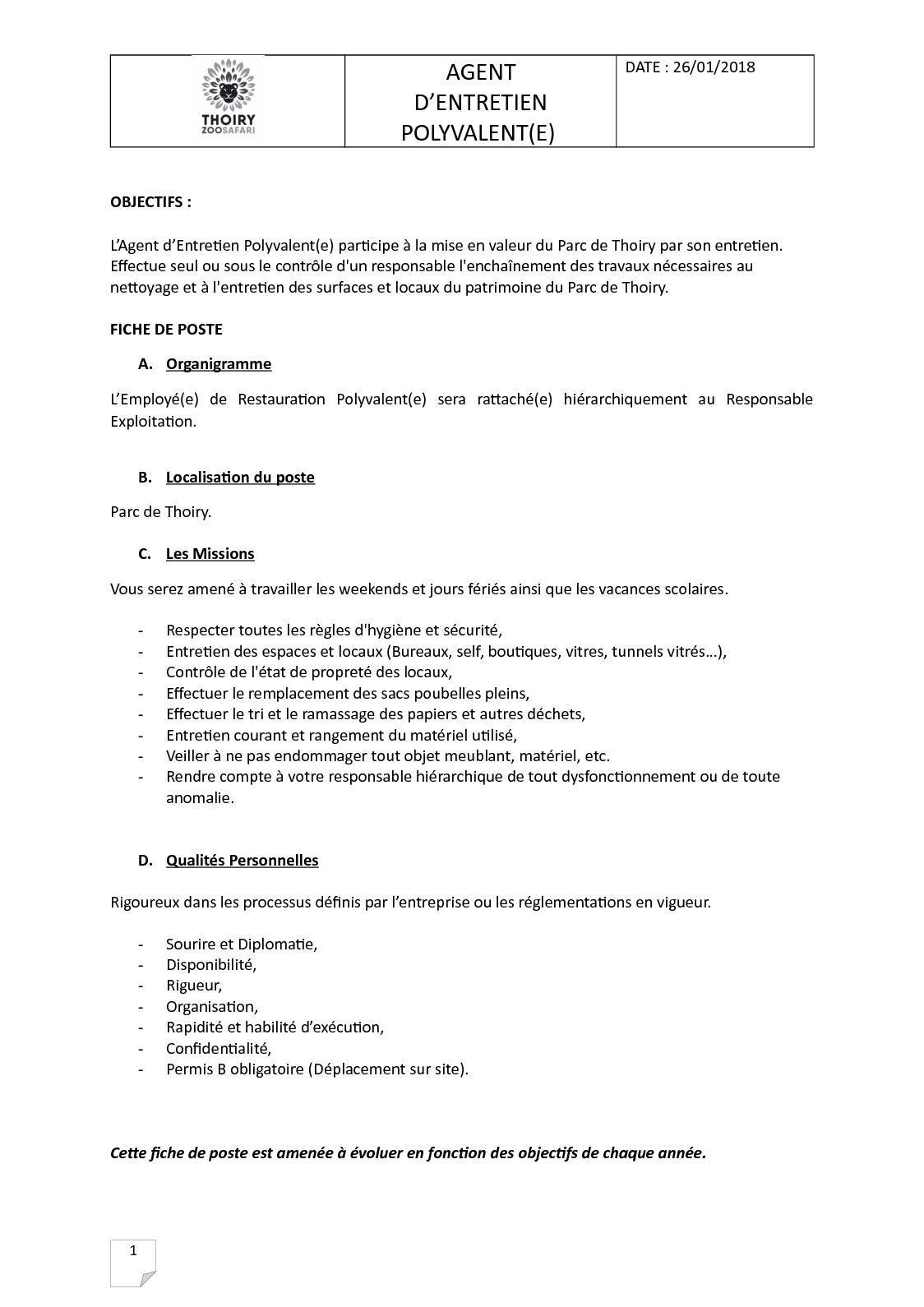 Calaméo - Agent D'Entretien Polyvalent(e) Fiche De Poste