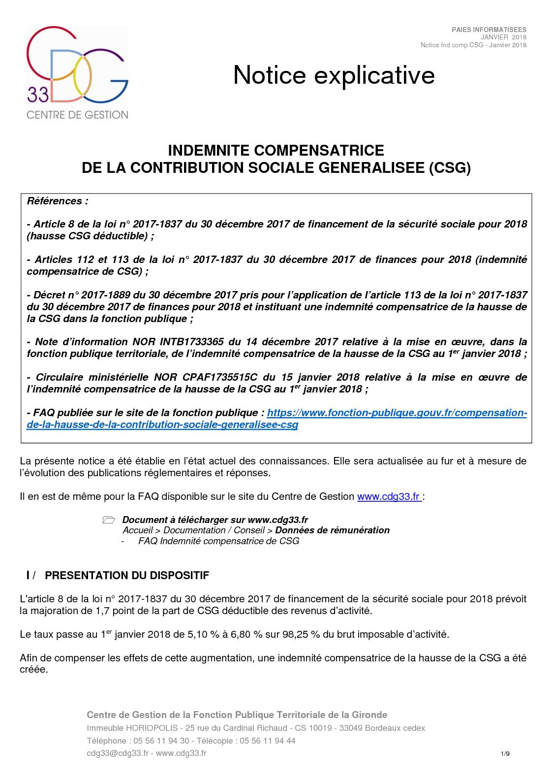 Calameo Notice Indemnite Compensatrice Csg Cdg 33