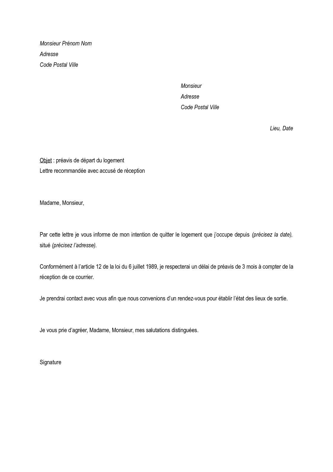 Lettre De Préavis De 3 Mois De Départ Dun Logement - Exemple de Lettre