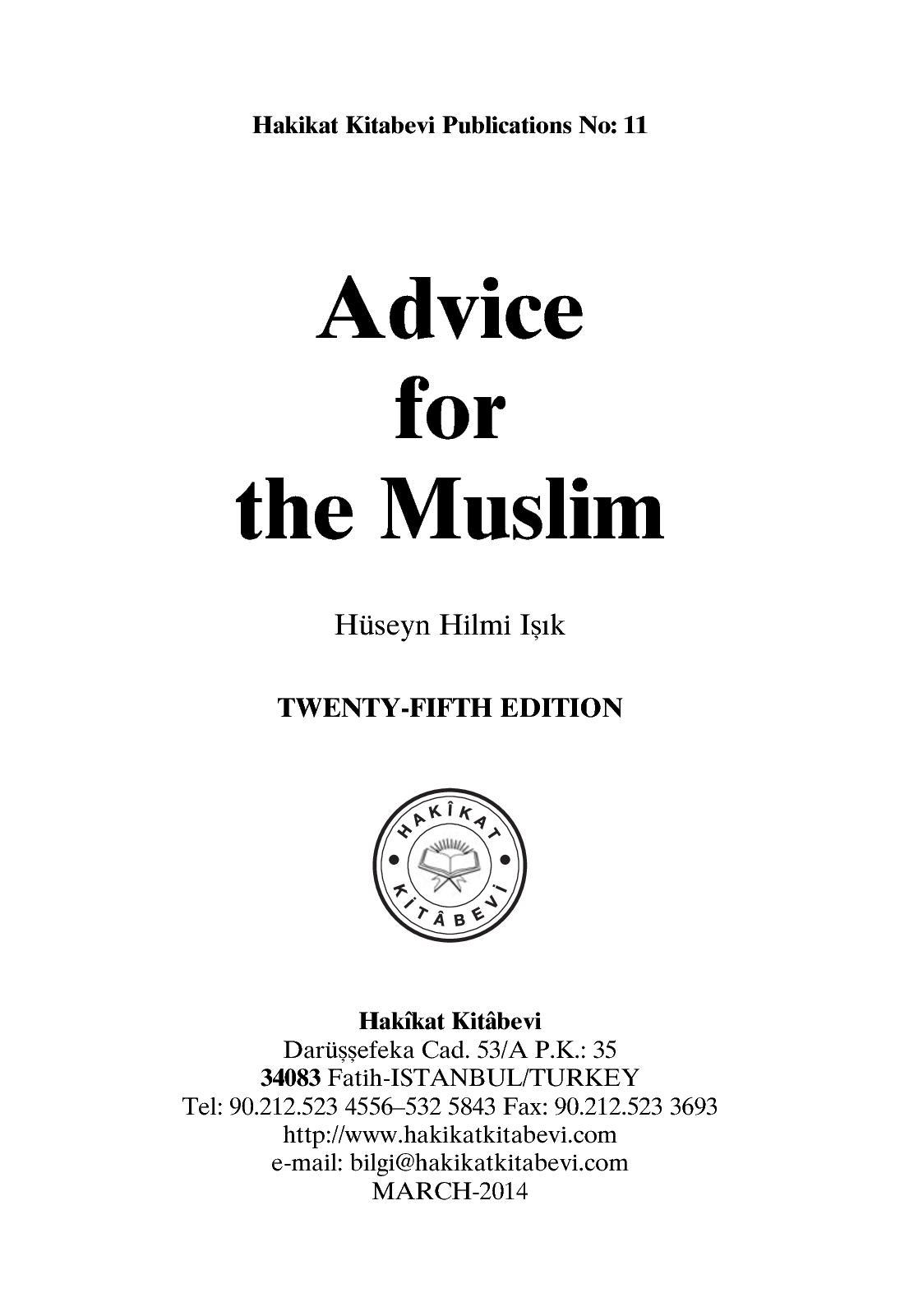 Calaméo - Advice For The Muslim