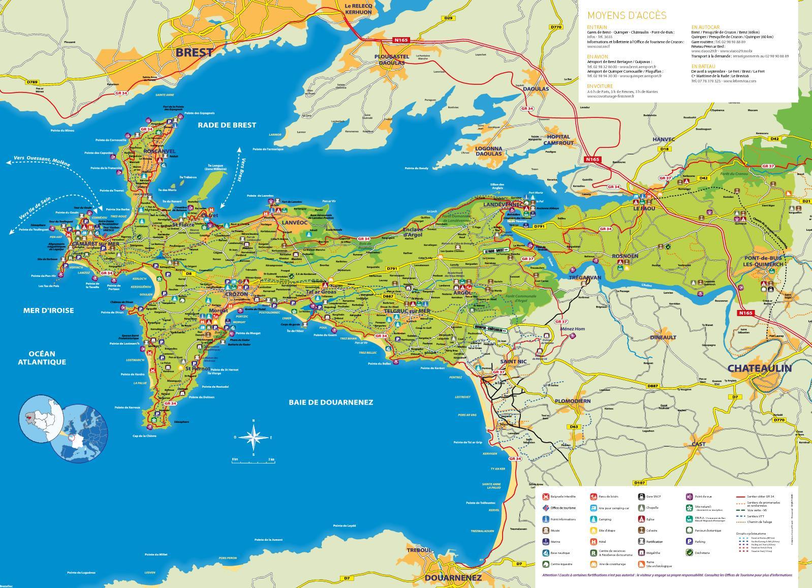 carte presqu île de crozon Carte Touristique / Presqu'île de Crozon   Aulne Maritime