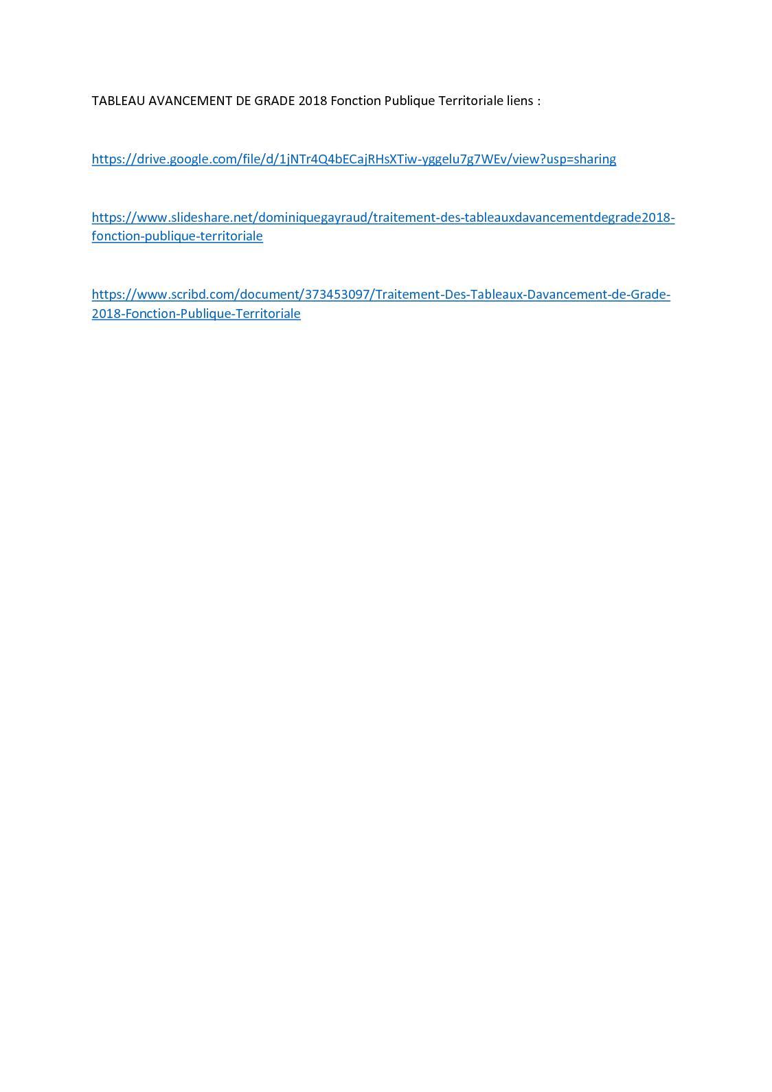 Calameo Tableau Avancement De Grade 2018 Fonction Publique