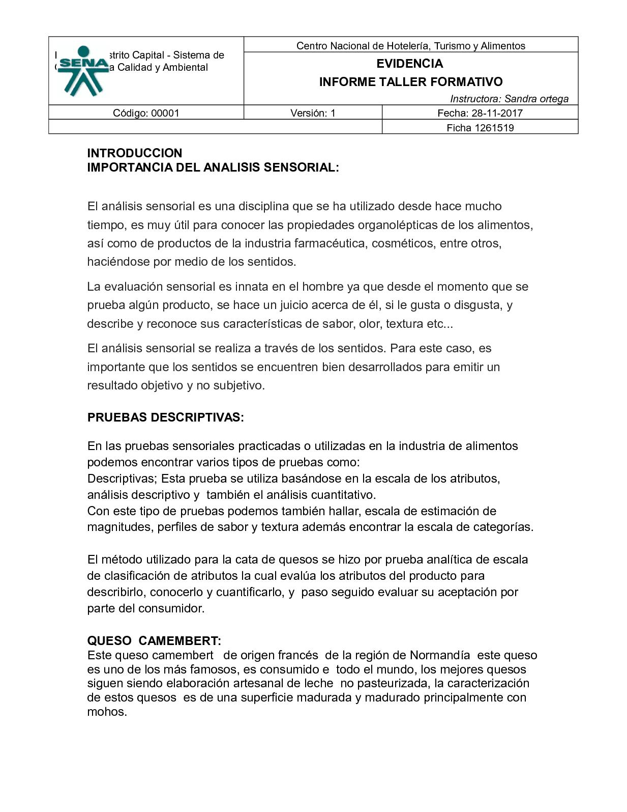 Informe De Queso Sandra Ortega