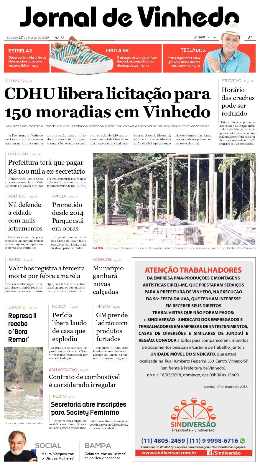 61b7c20d855f9 Calaméo - Jornal De Vinhedo Sabado 17 De Março De 2018 Edic1685