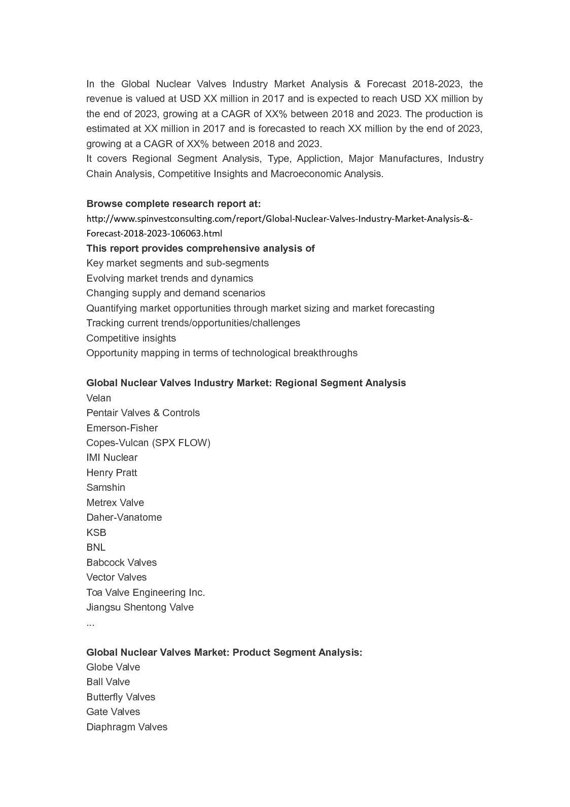 Calaméo - Global Nuclear Valves Industry Market Analysis