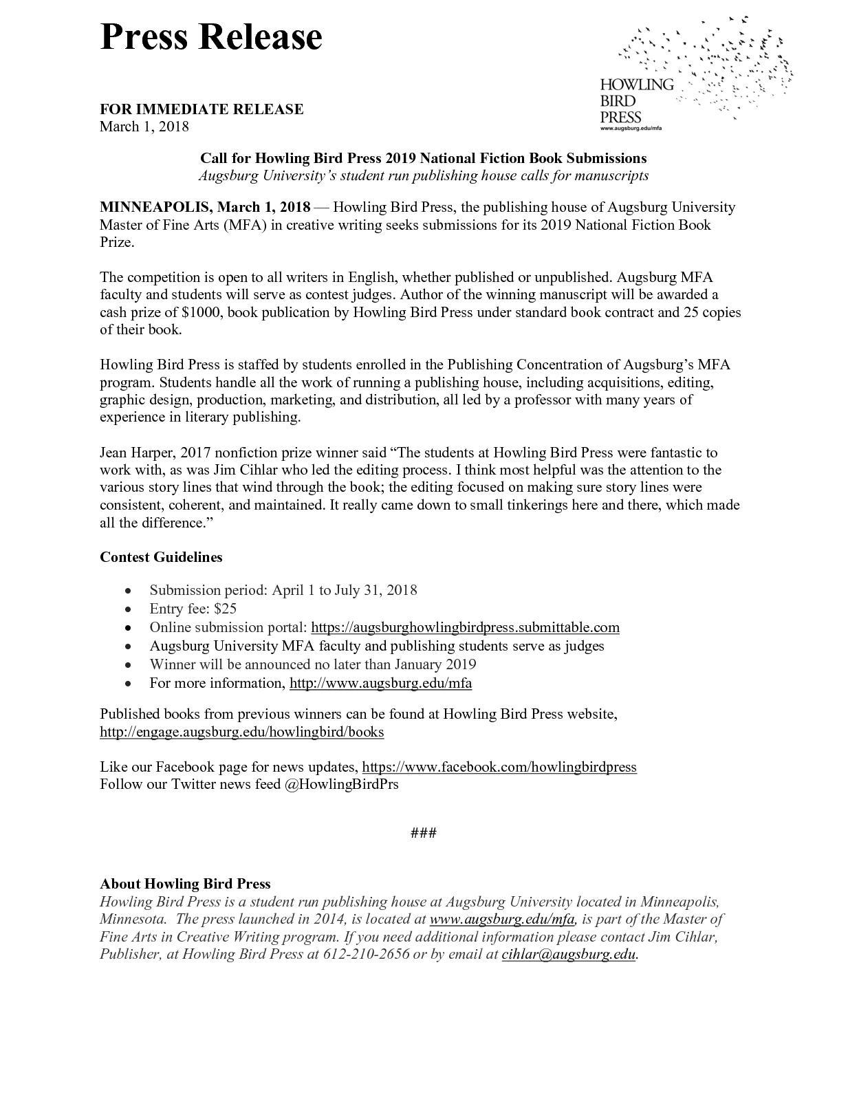 Calaméo - Howling Bird Press Fiction Press Release