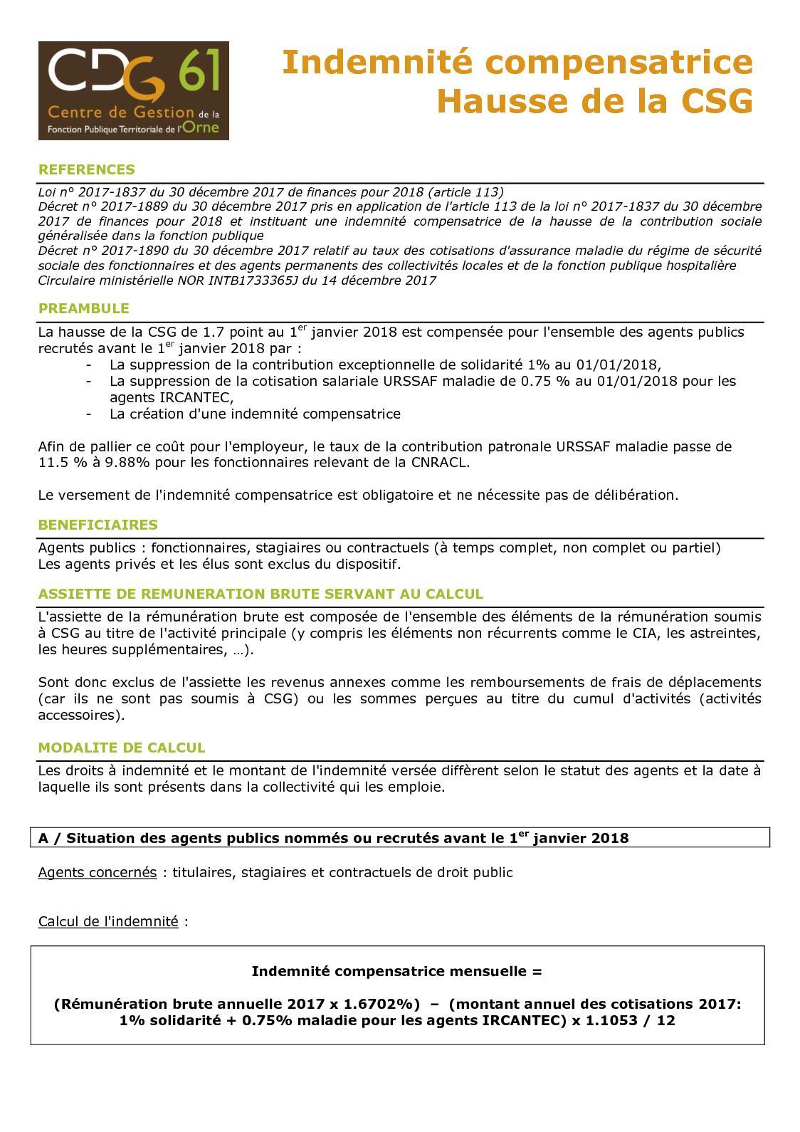 Calameo Cdg61 Indemnite Compensatrice Csg Fiche