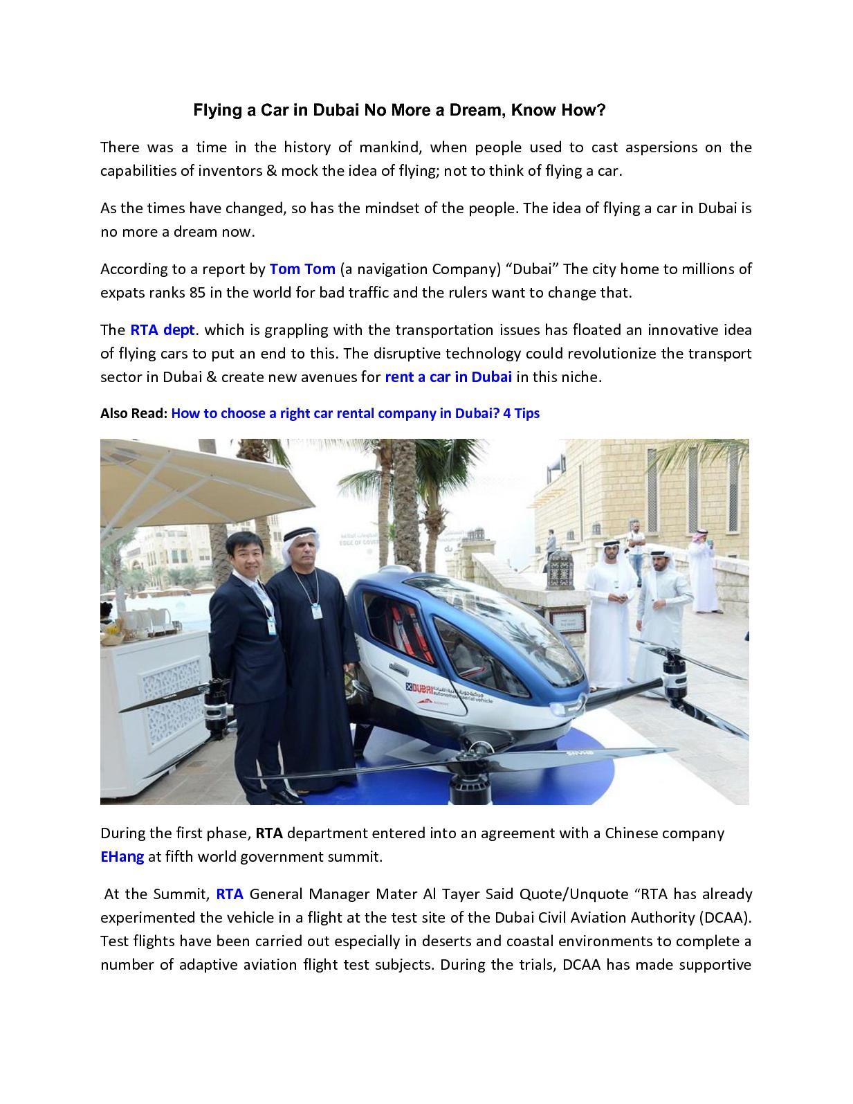Calaméo - Flying A Car In Dubai No More A Dream